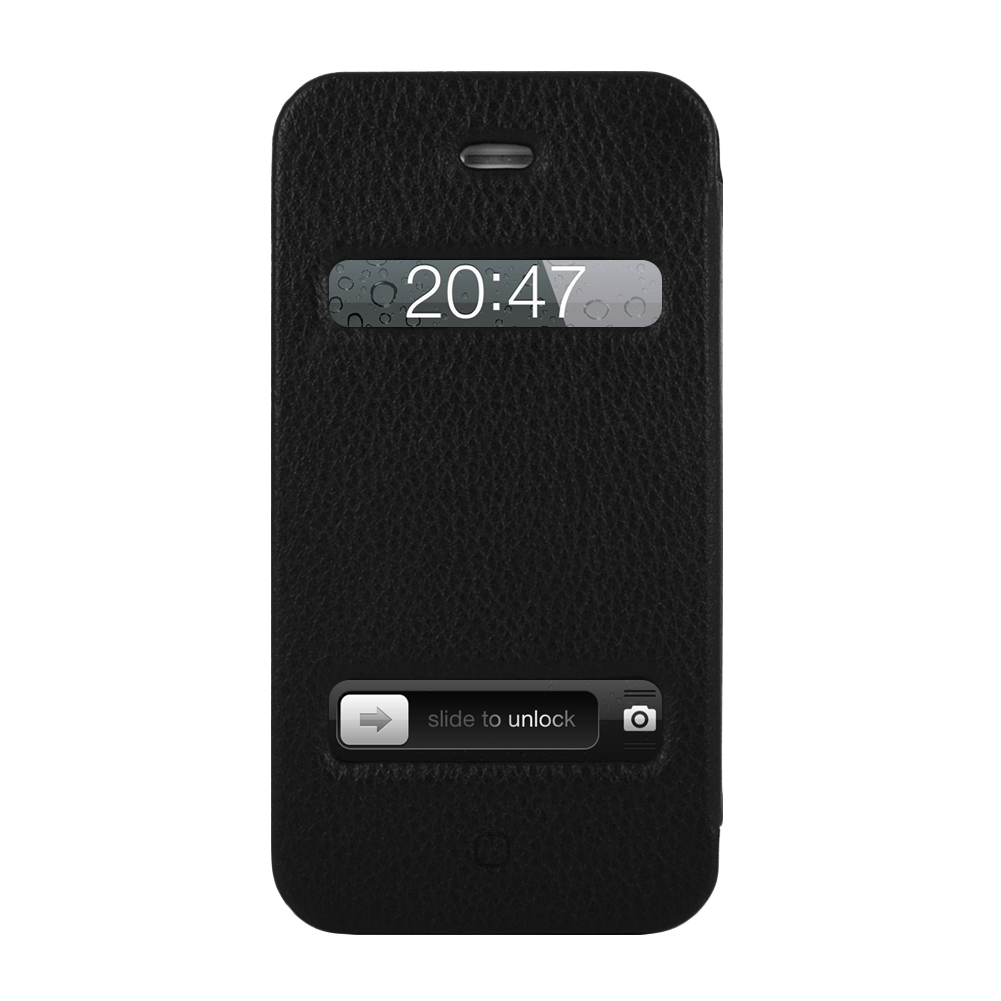 Jison Case Cover for iPhone 4 4S - Full Protection + Magic Design Suction Cups (Black PU Leather)