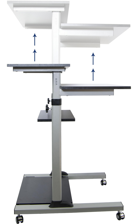 Mobile Height Adjustable Stand Up Desk Computer Work