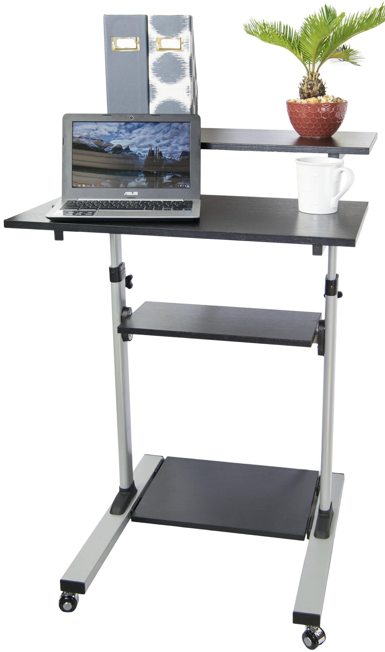 mobile height adjustable stand up desk computer work station presentation cart. Black Bedroom Furniture Sets. Home Design Ideas