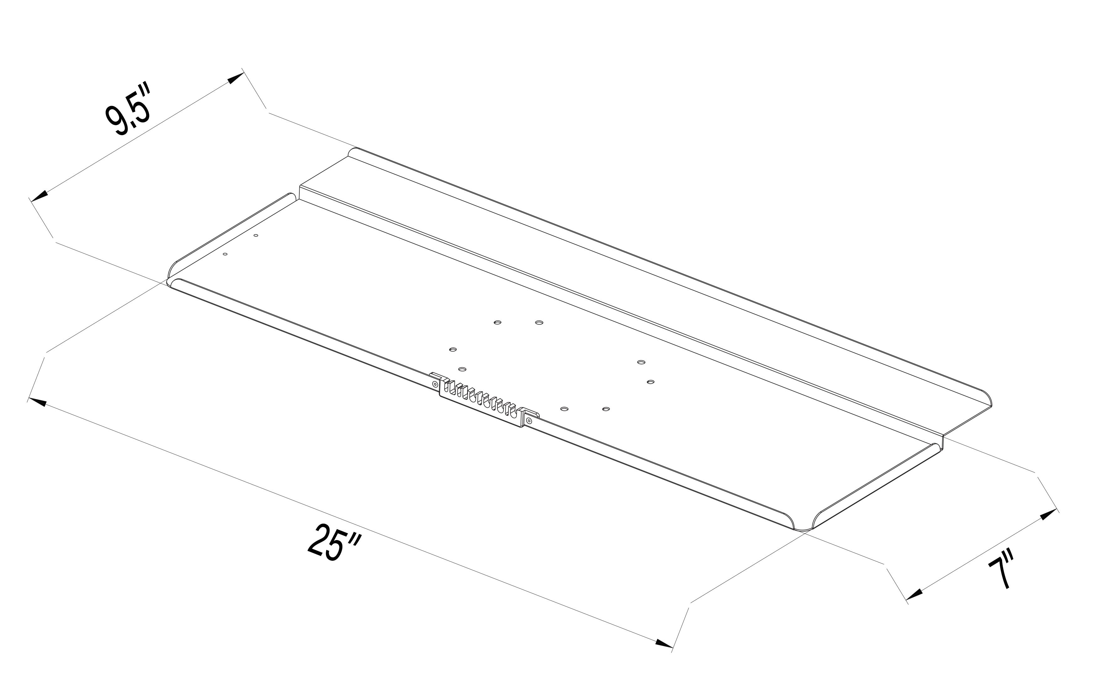 vivo deluxe computer keyboard tray holder for vesa mount stand    fits vesa 100mm