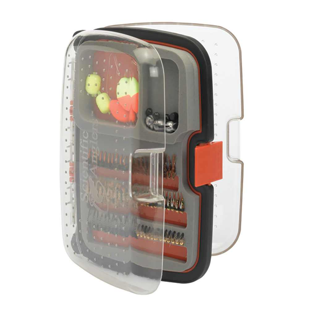 Scientific anglers nymph 210 fly box medium orange fly for Fly fishing box