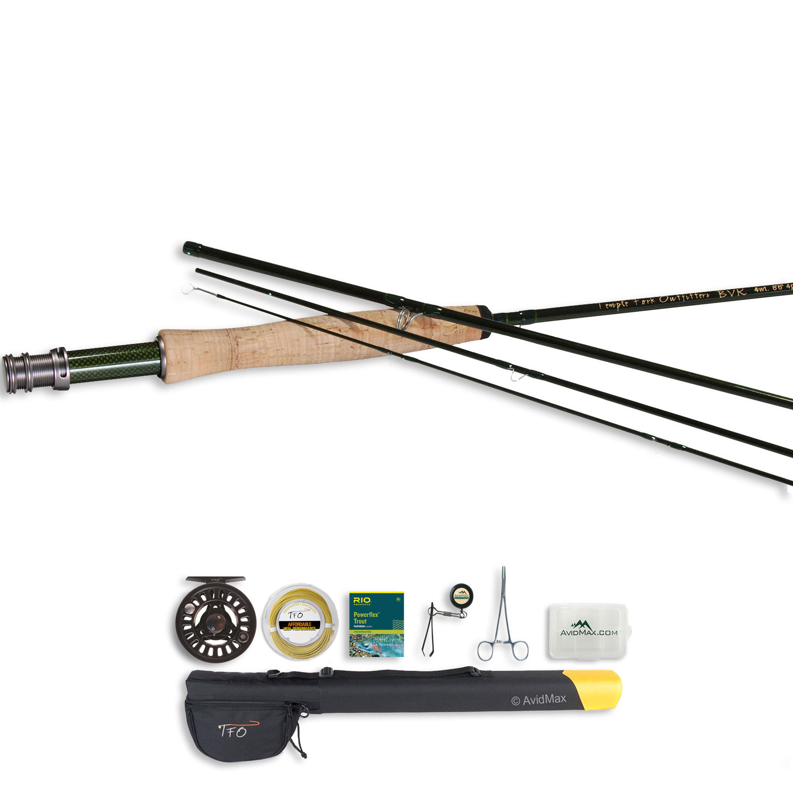 Tfo bvk series 4pc fly rod and prism cast reel outfit with for Trout fishing rod and reel