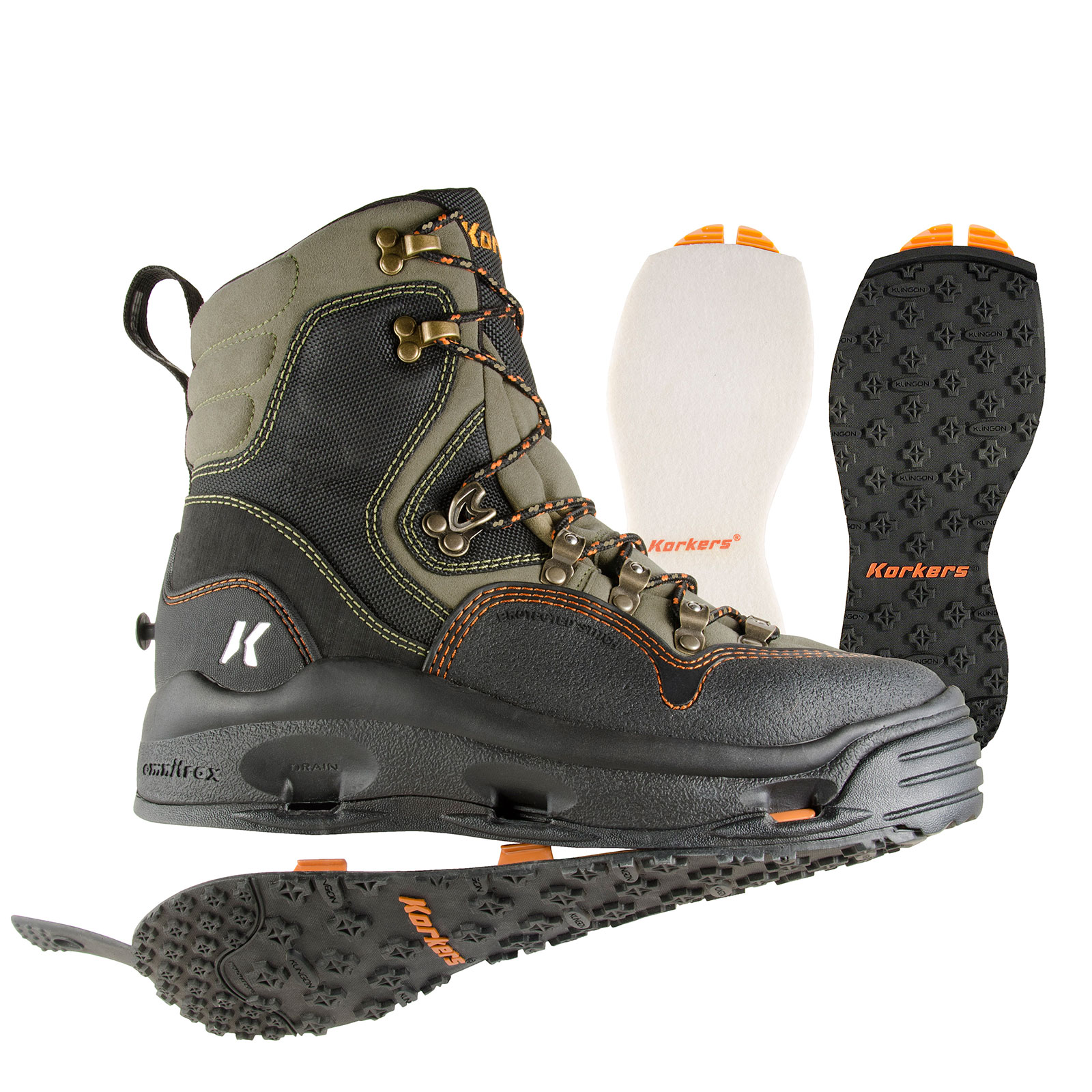 Korkers k 5 bomber fly fishing wading boot w felt kling for Fly fishing shoes