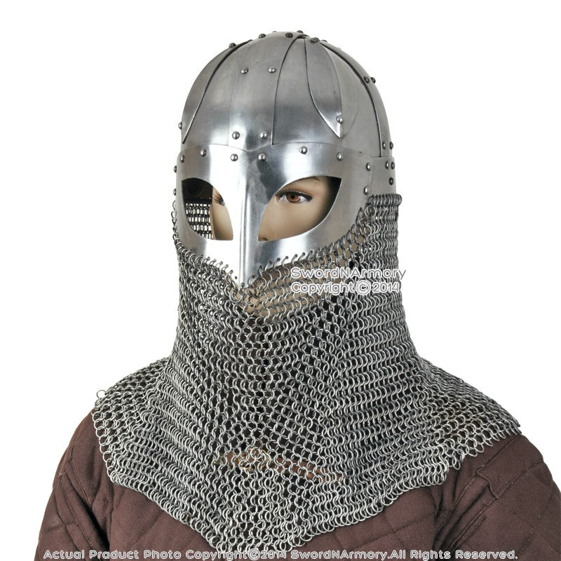 Battle Ready Viking Spectacle Helmet With Chainmail Aventail 16G Steel ...