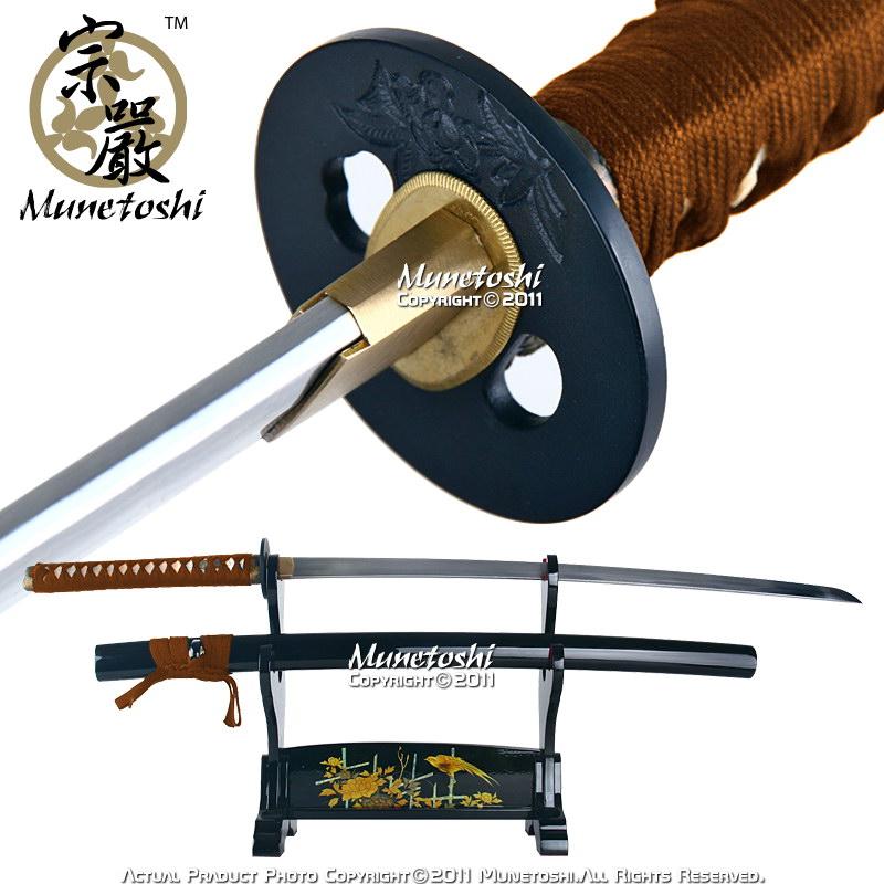 handmade fully functional munetoshi lion dog t8 katana samurai sword brown ito ebay. Black Bedroom Furniture Sets. Home Design Ideas