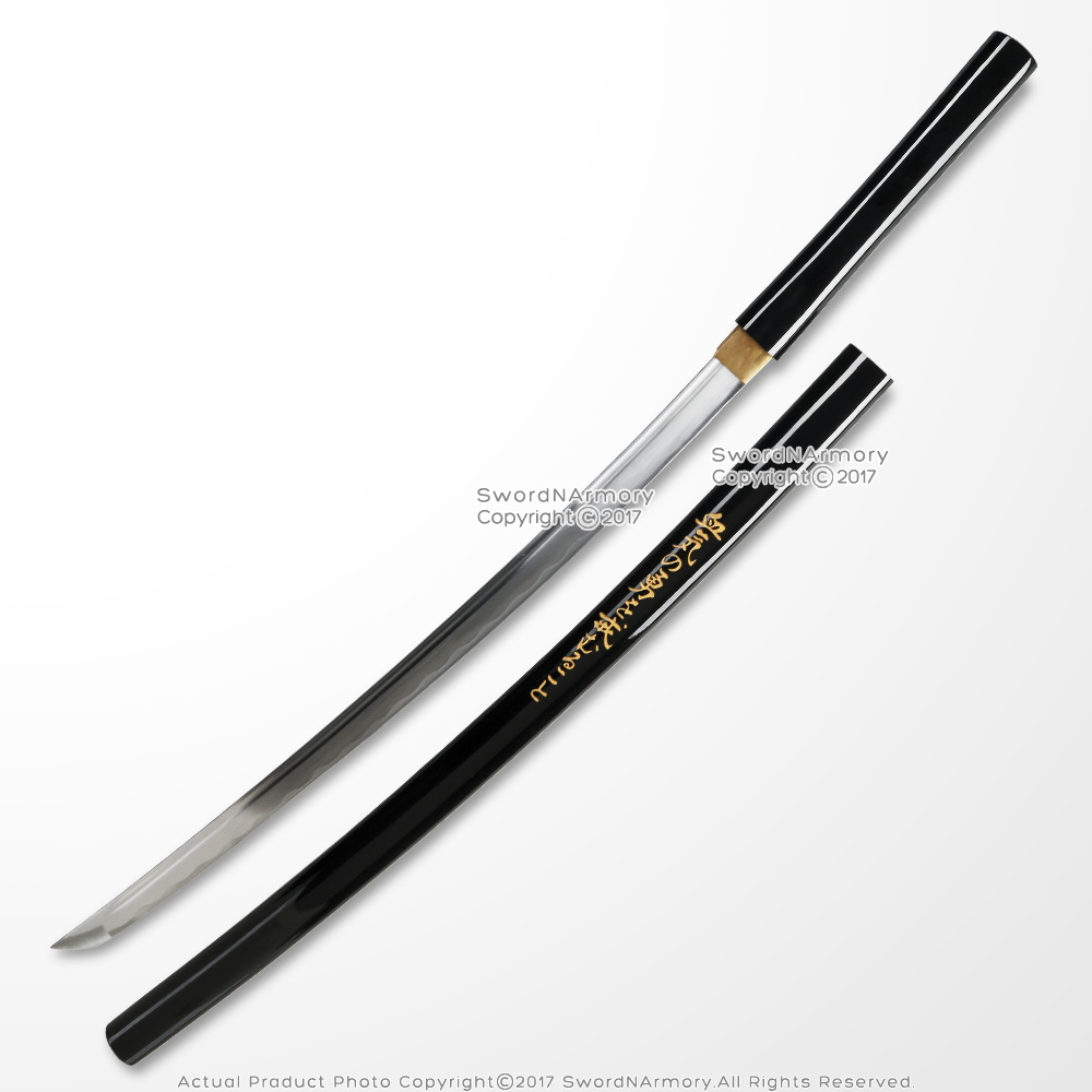 Shirasaya Samurai Katana Sword Sharp Hand Honed Blade w/ Bushido Kanji Engraved