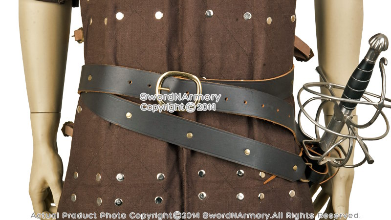 wrap brown leather sword belt with frog for