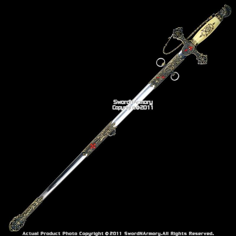 Masonic Knights Templar Ceremonial Sword Antiqued BR