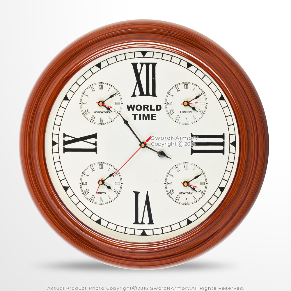 handmade wooden wall world time clock with 4 zones