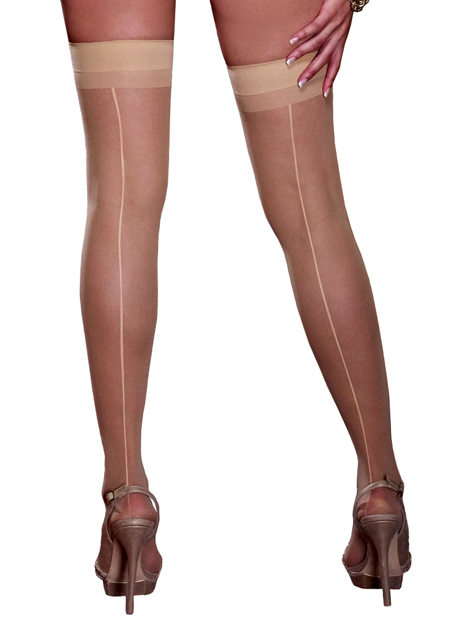Plus Size Hosiery Lingerie Sheer Back Seam Thigh High ...