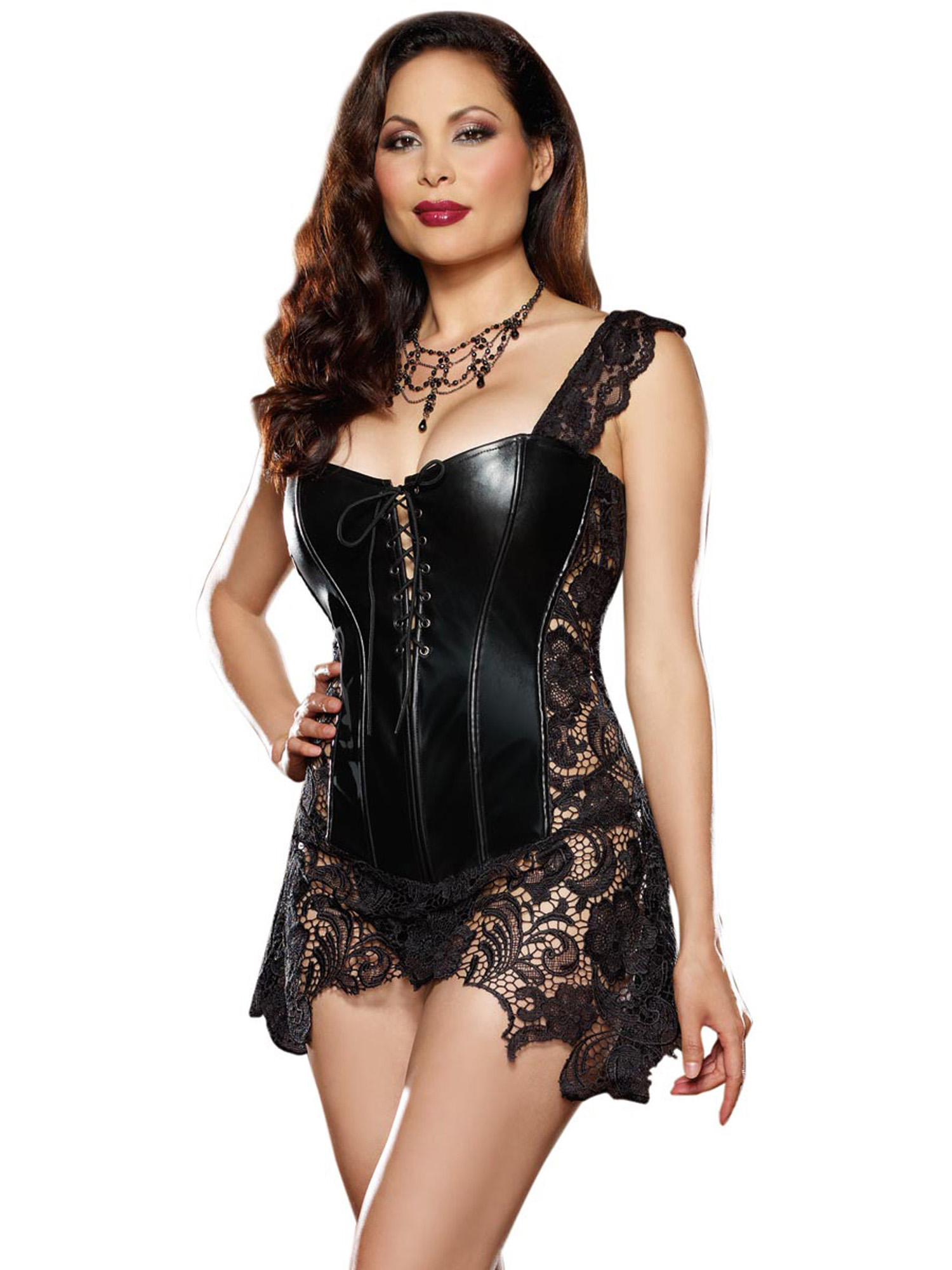 Plus Size Faux Leather and Lace Corset Lingerie | eBay
