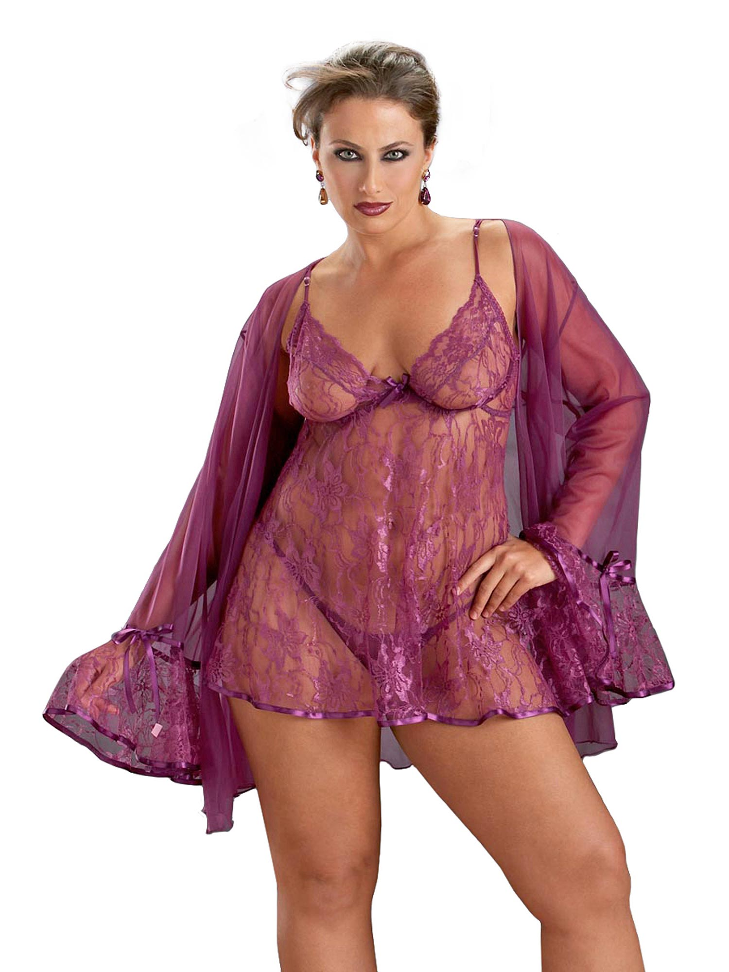 Full Figured Plus Size Lingerie Sexy Princess Lace Babydoll Set | eBay