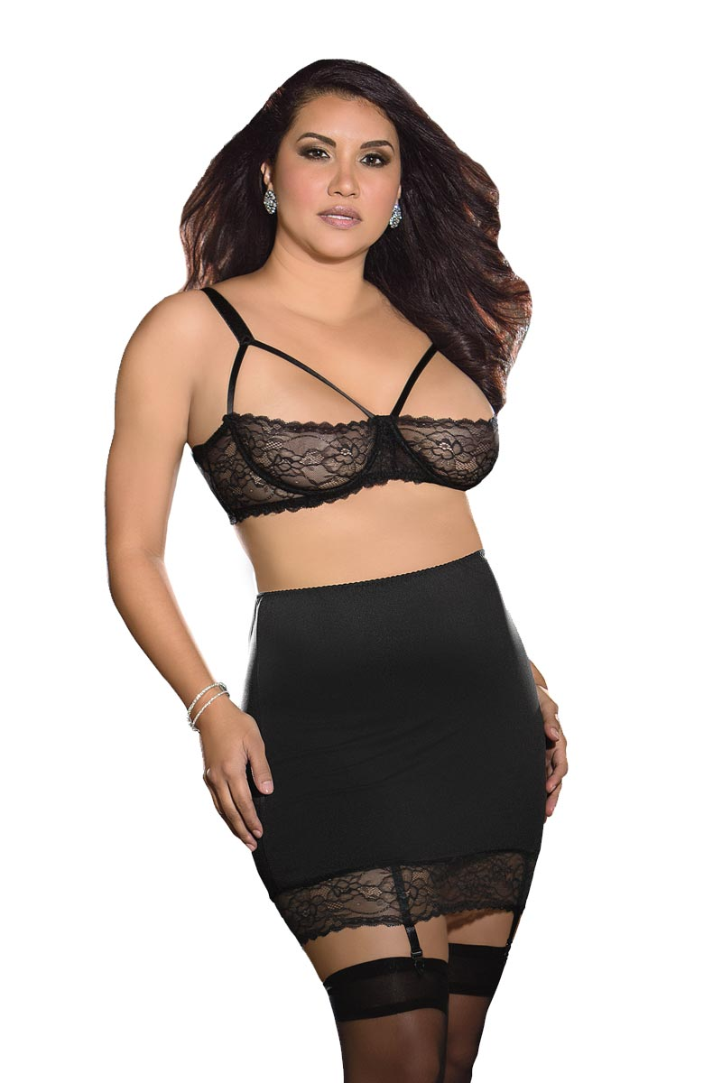 Plus Size Sexy BBW Fetish Lace Up Back Spanking Skirt Bra Set ...