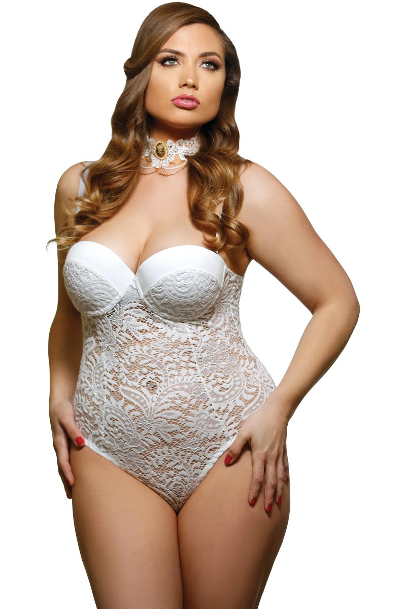 Elegant Plus Size Curvy Bridal Push Up Cup Lace Teddy Lingerie | eBay