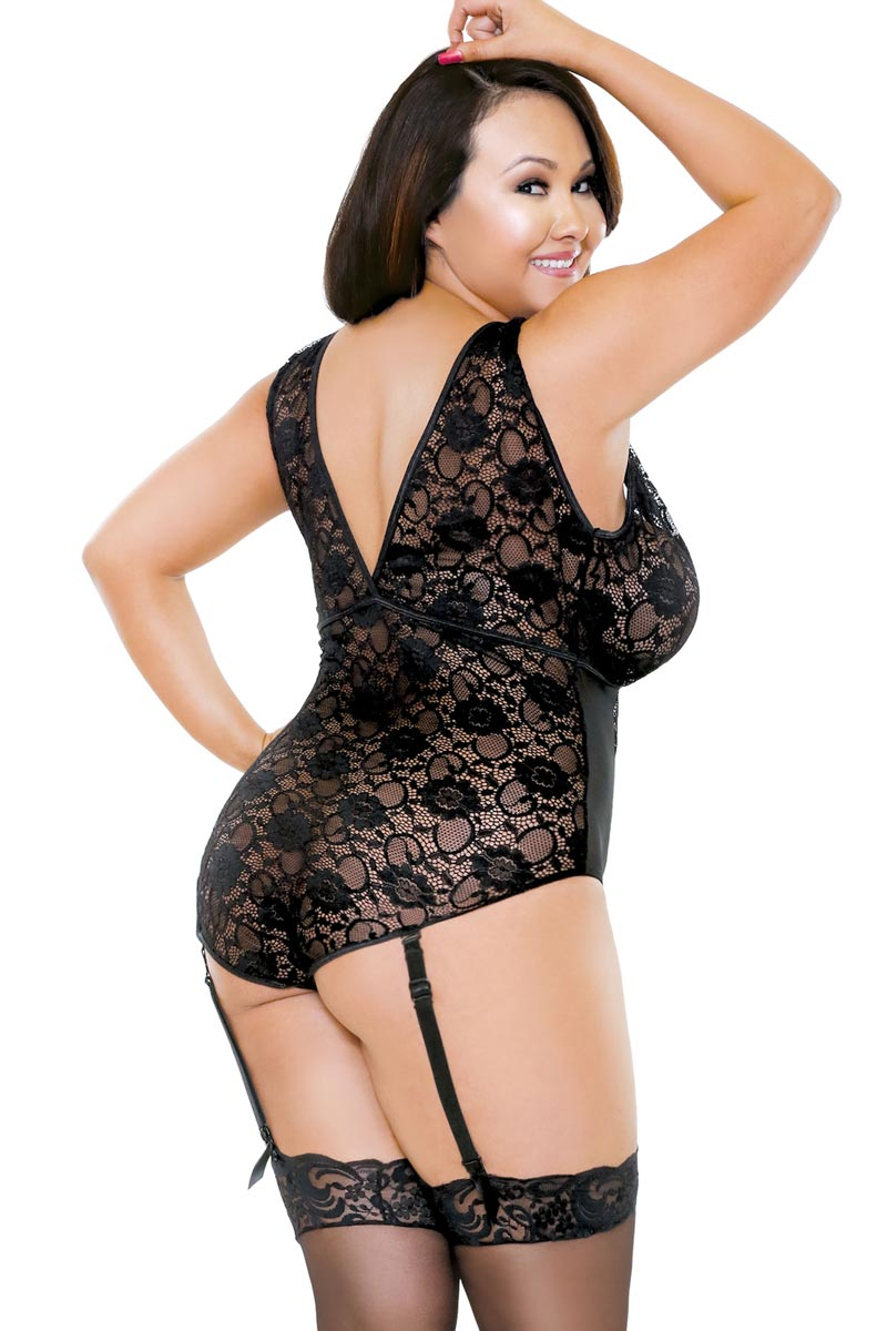Plus Size BBW Lace Gartered Teddy Lingerie | eBay
