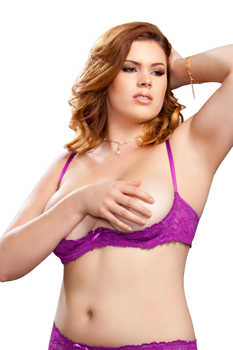 Plus Size Sexy Full Figure Underwire Lace Shelf Bra