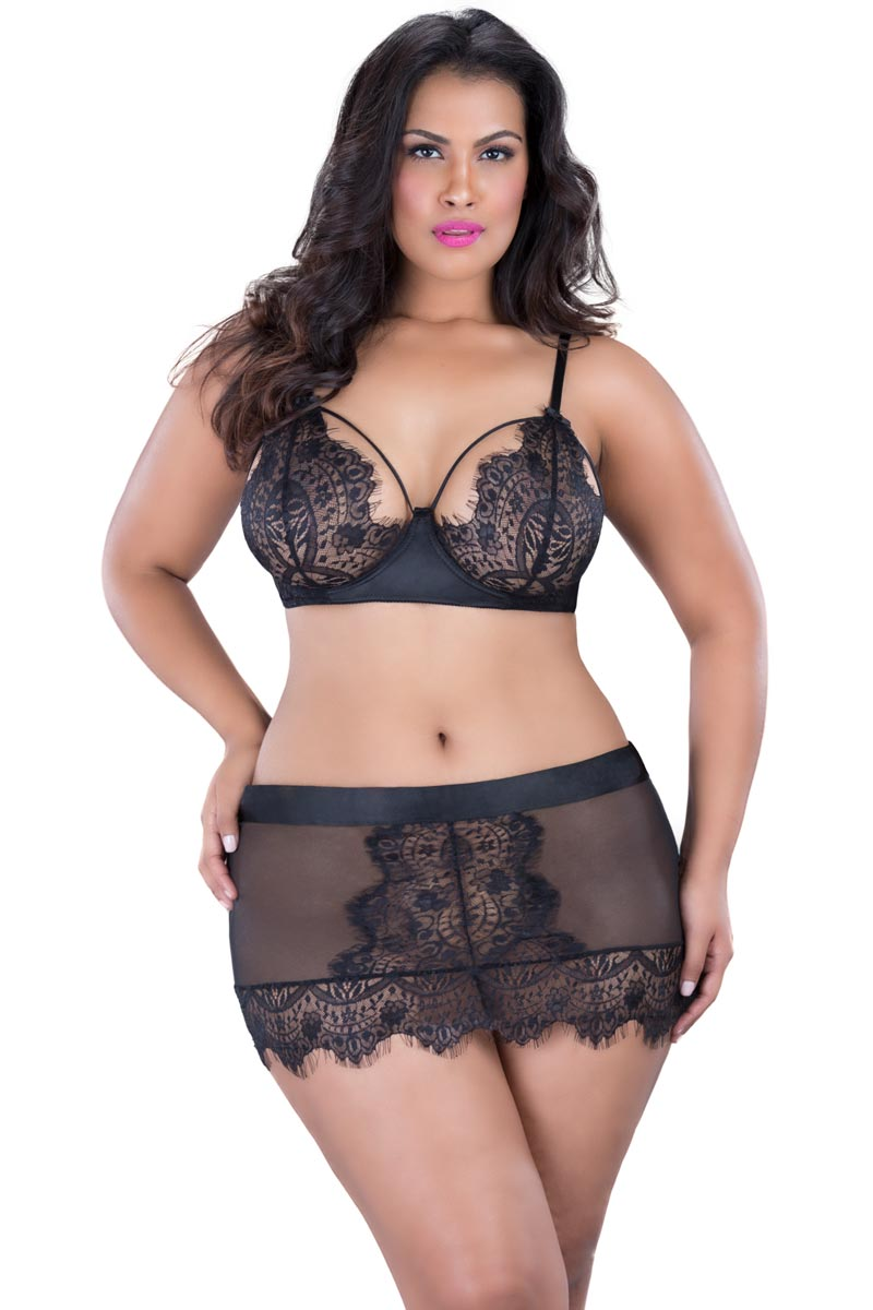 Full Figure BBW Eyelash Lace Mini Skirt Lingerie | eBay