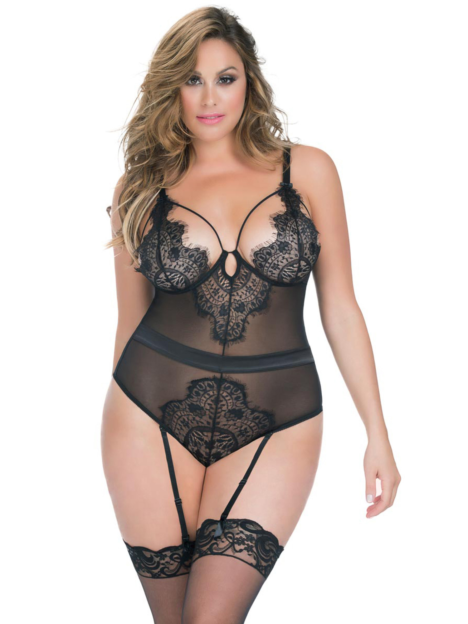 Full Figure BBW Plus Size Eyelash Lace Teddy Lingerie | eBay