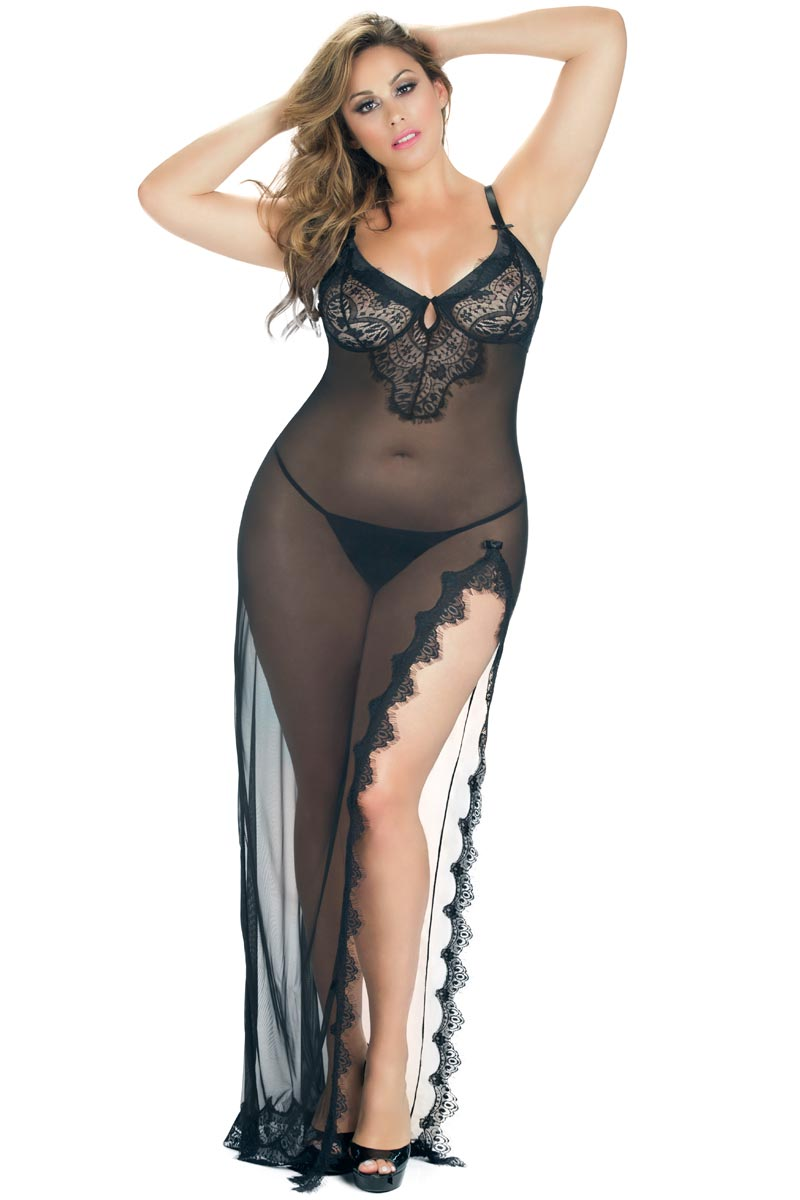 Plus Size BBW Eyelash Lace Long Gown Lingerie | eBay