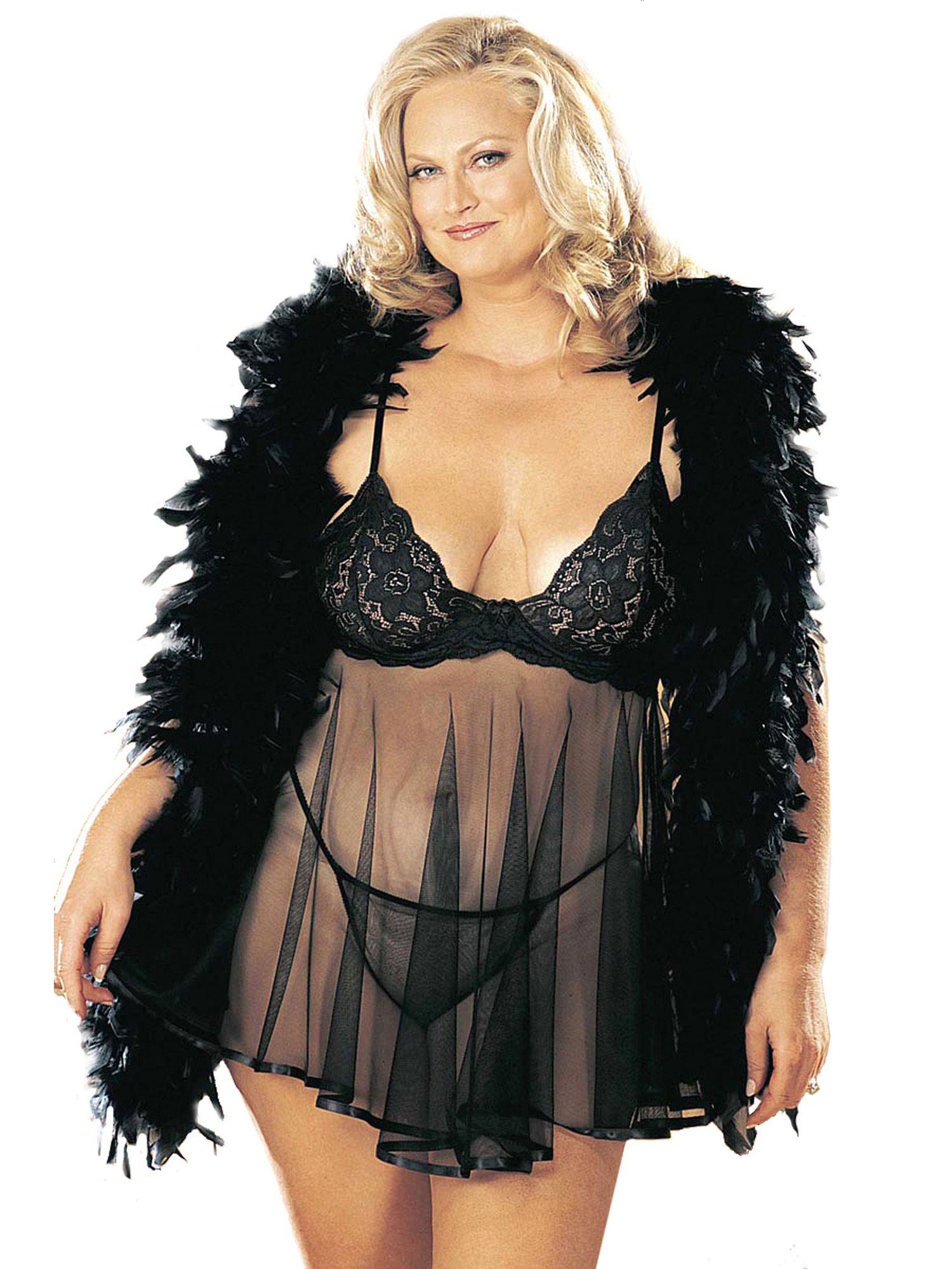 Plus Size Curvy Sexy Lace and Sheer Net Babydoll Lingerie | eBay
