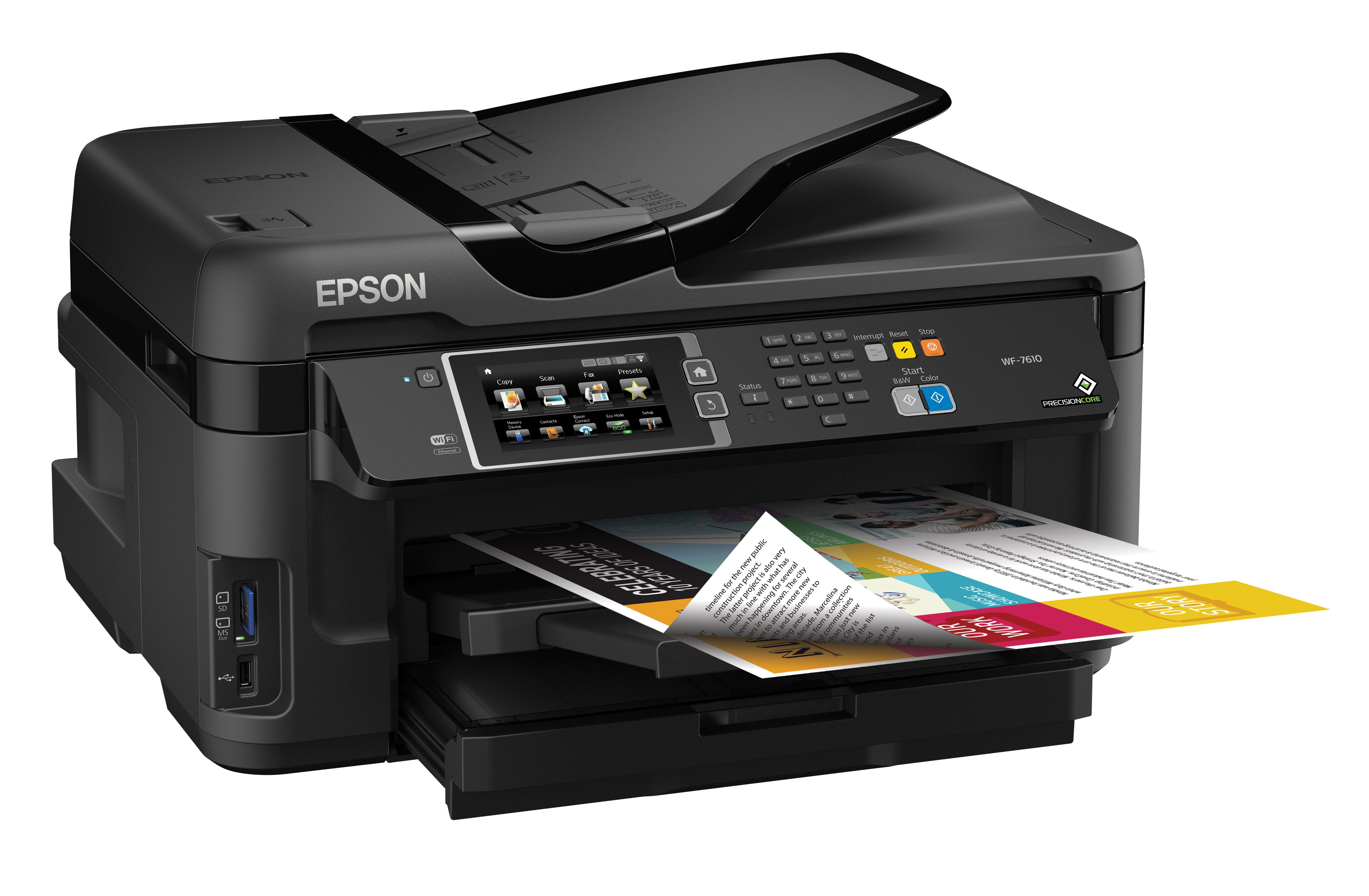 epson workforce wf 7610 all in one color printer scanner copier wi fi direct ebay. Black Bedroom Furniture Sets. Home Design Ideas
