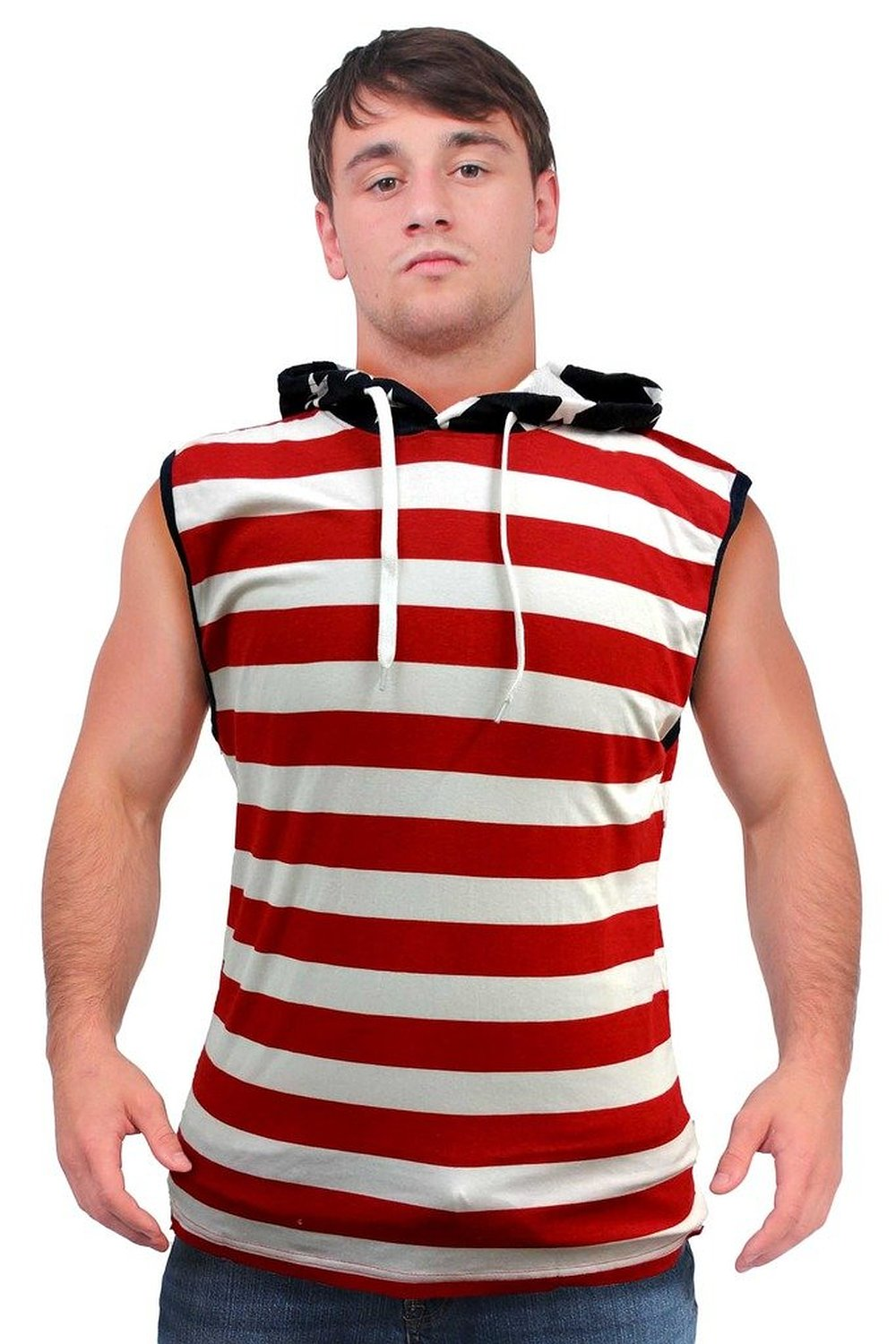 Our men's American Flag clothing for men also includes classic sweaters in thick, rich knit colors. The American flag sweater for men has stars above and stripes below, while the USA men's sweater gives you a bold, authentic look in red, white, and blue.