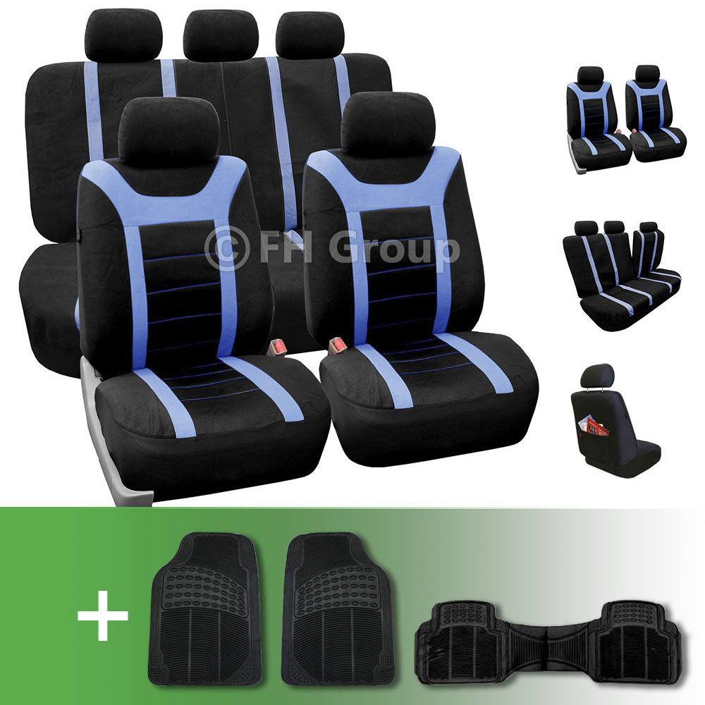 Sports Car Seat Covers Complete Set With Floor Mats Blue