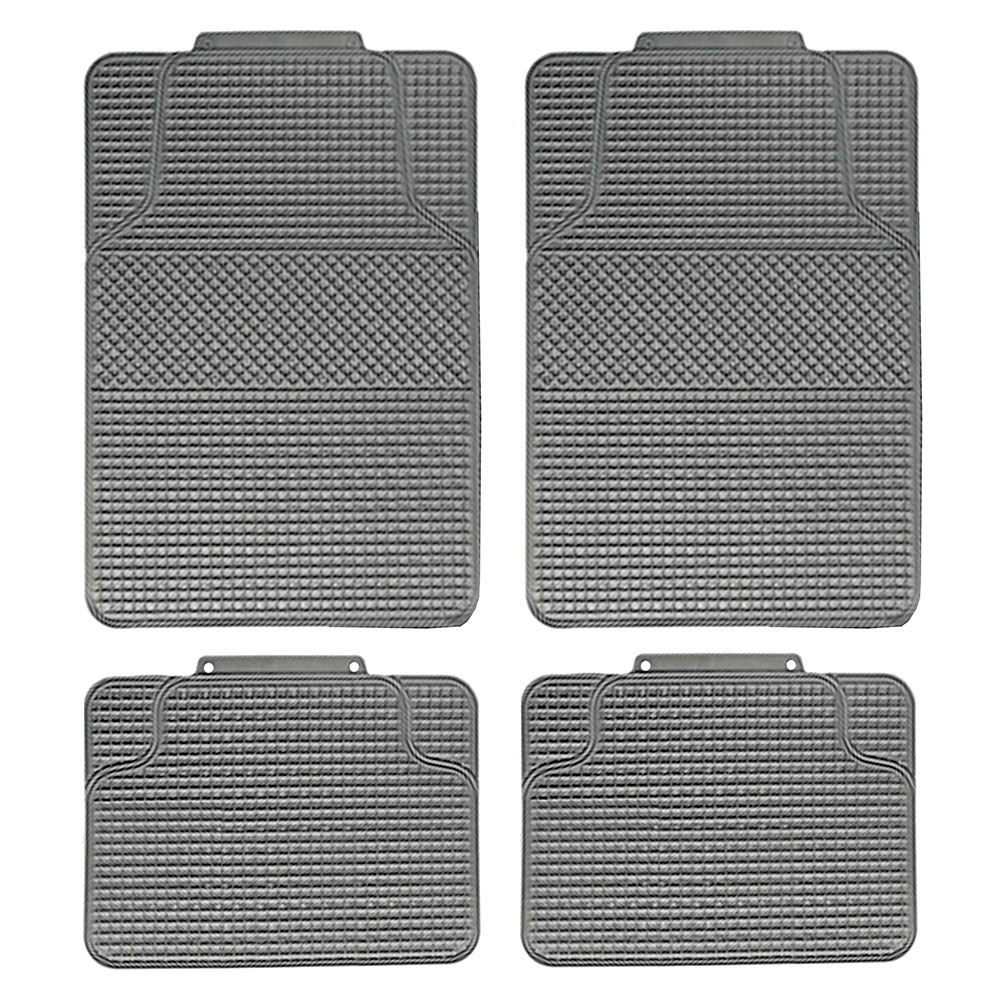 Auto Seat Covers Full Set 4 Headrests Gray Rubber Floor