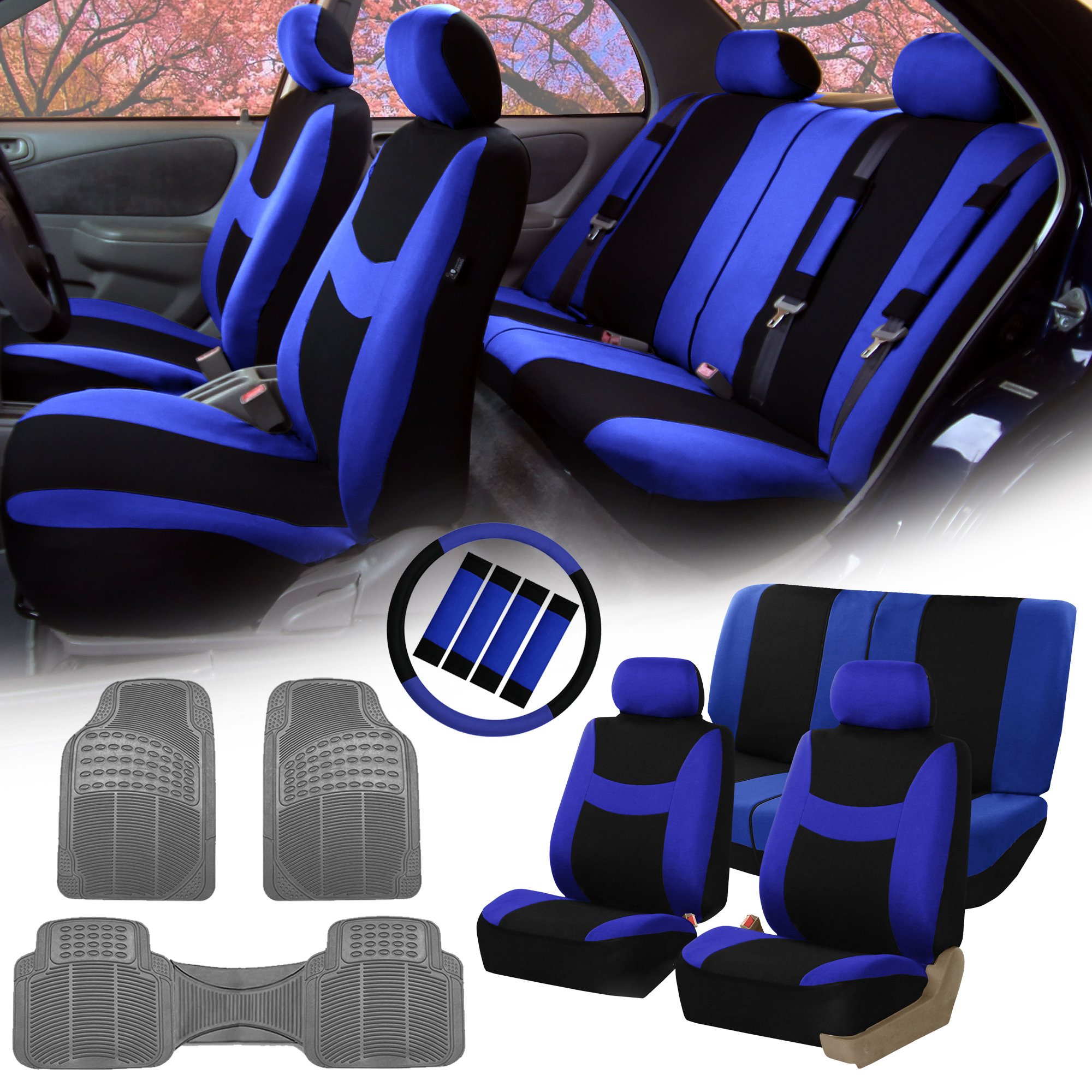 Blue Black Car Seat Covers For Auto W Steering Cover Belt