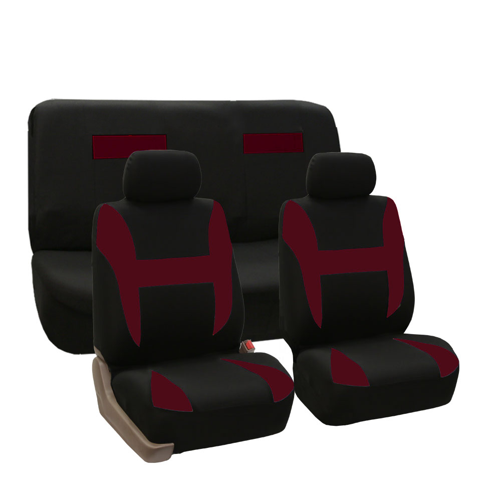 Car Seat Covers Burgundy Full Set For Auto SUV VAN W 5
