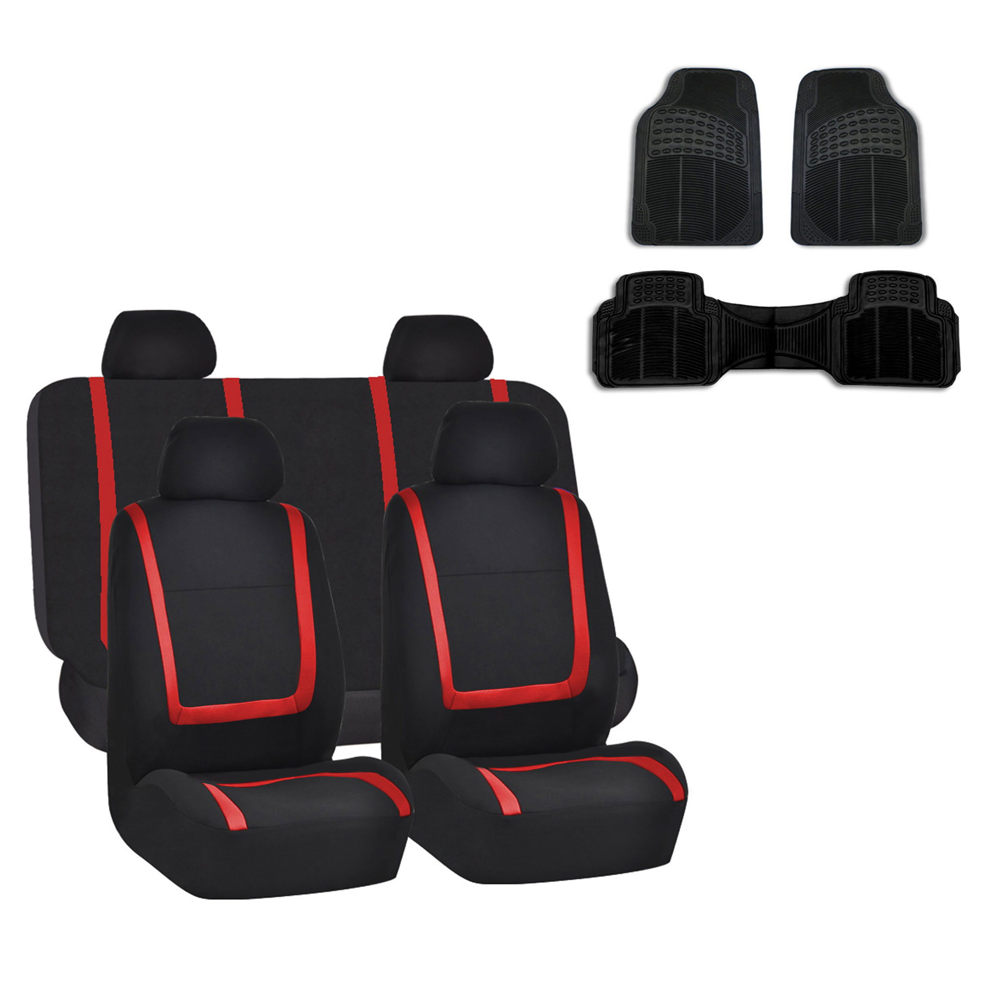 Car Seat Cover Red Black Set For Auto W Rubber Floor Mat