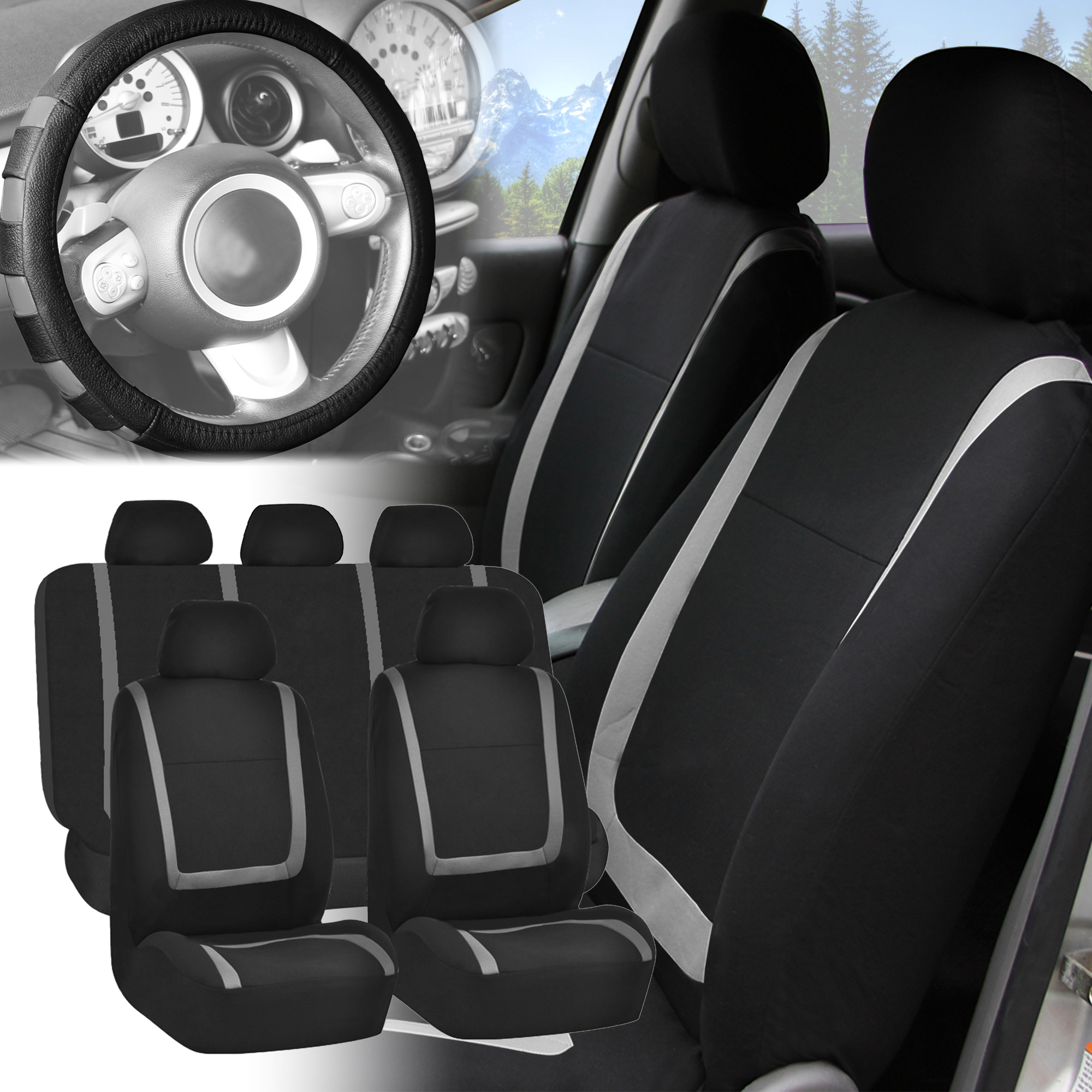 FH Group Car Seat Covers Gray Black Full Set for Auto w/Gray Leather Steering Wheel Cover