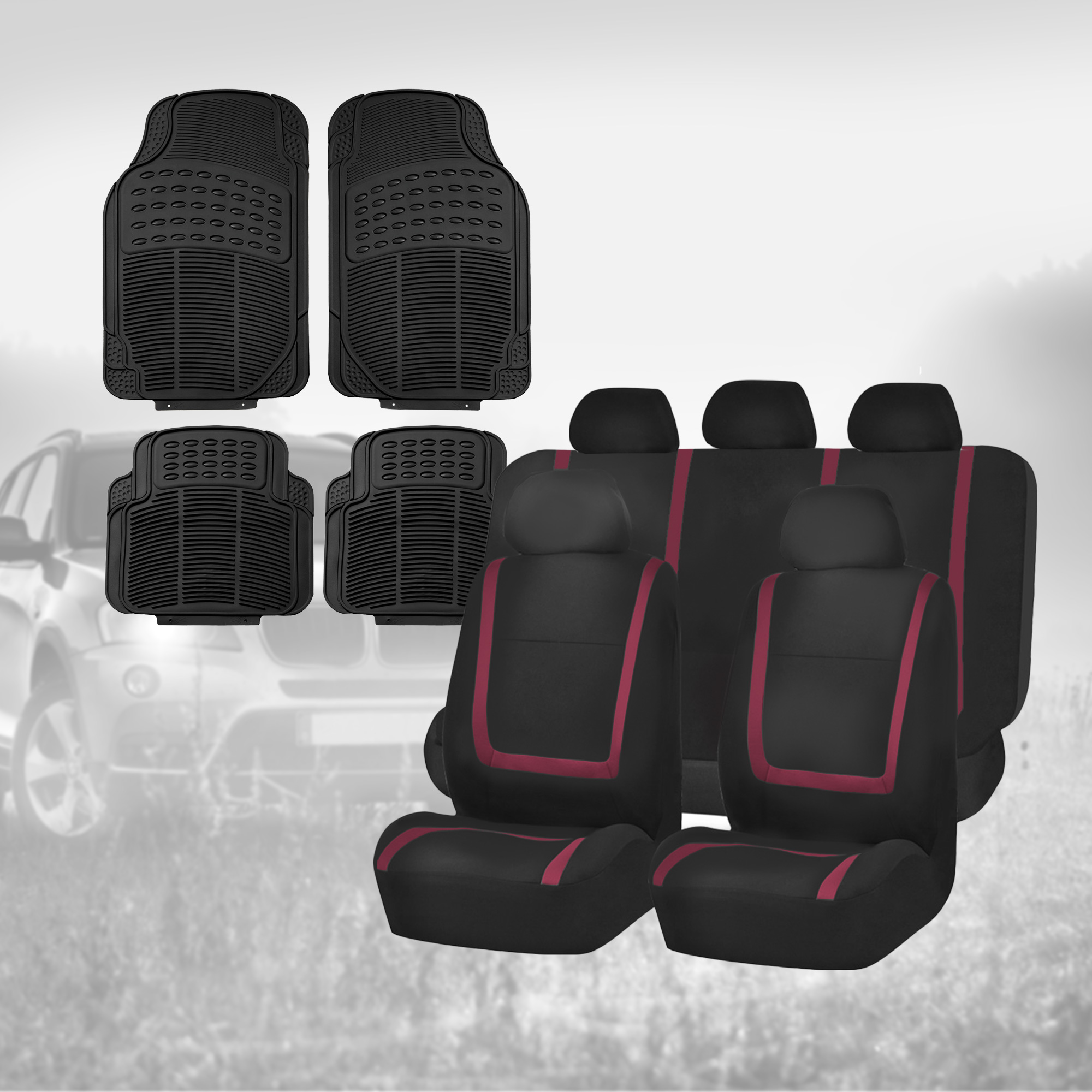 black yellow car seat covers with black floor mats combo for auto car suv ebay. Black Bedroom Furniture Sets. Home Design Ideas