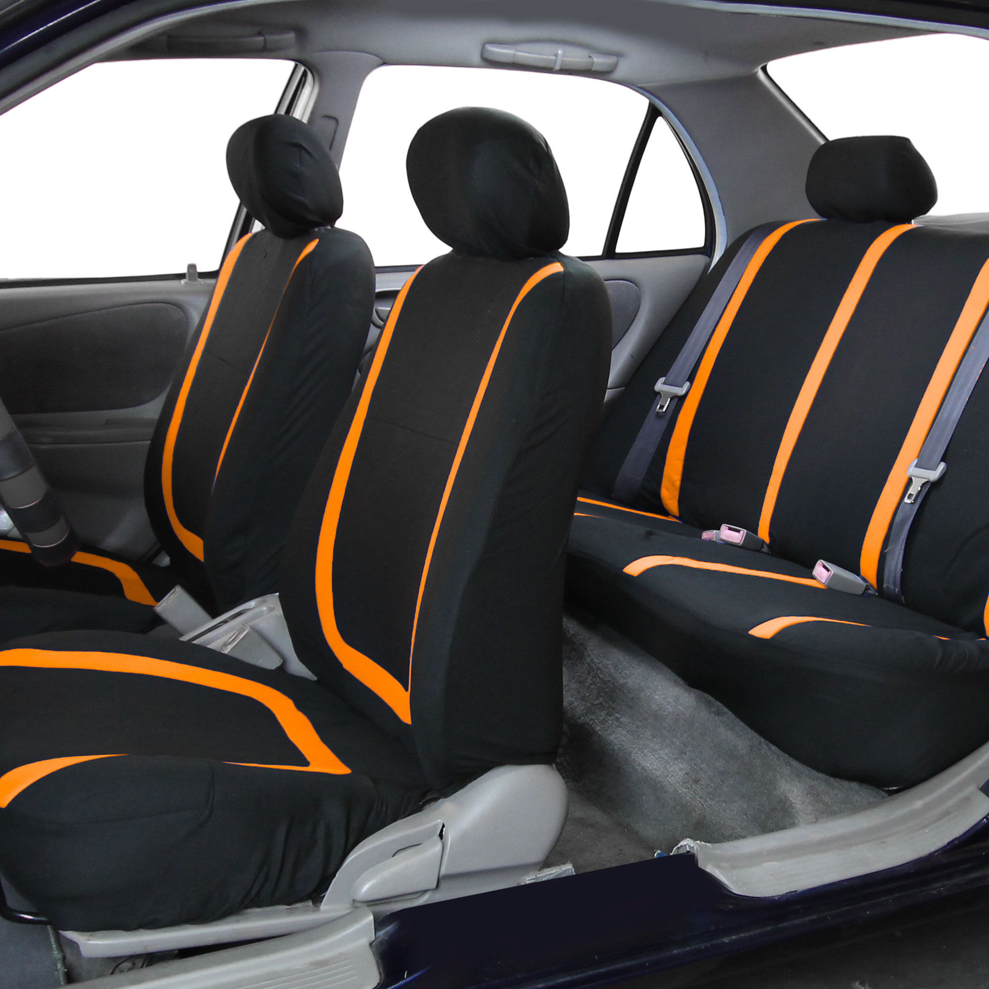 black orange car seat covers with gray premium floor mats for auto car suv cad. Black Bedroom Furniture Sets. Home Design Ideas