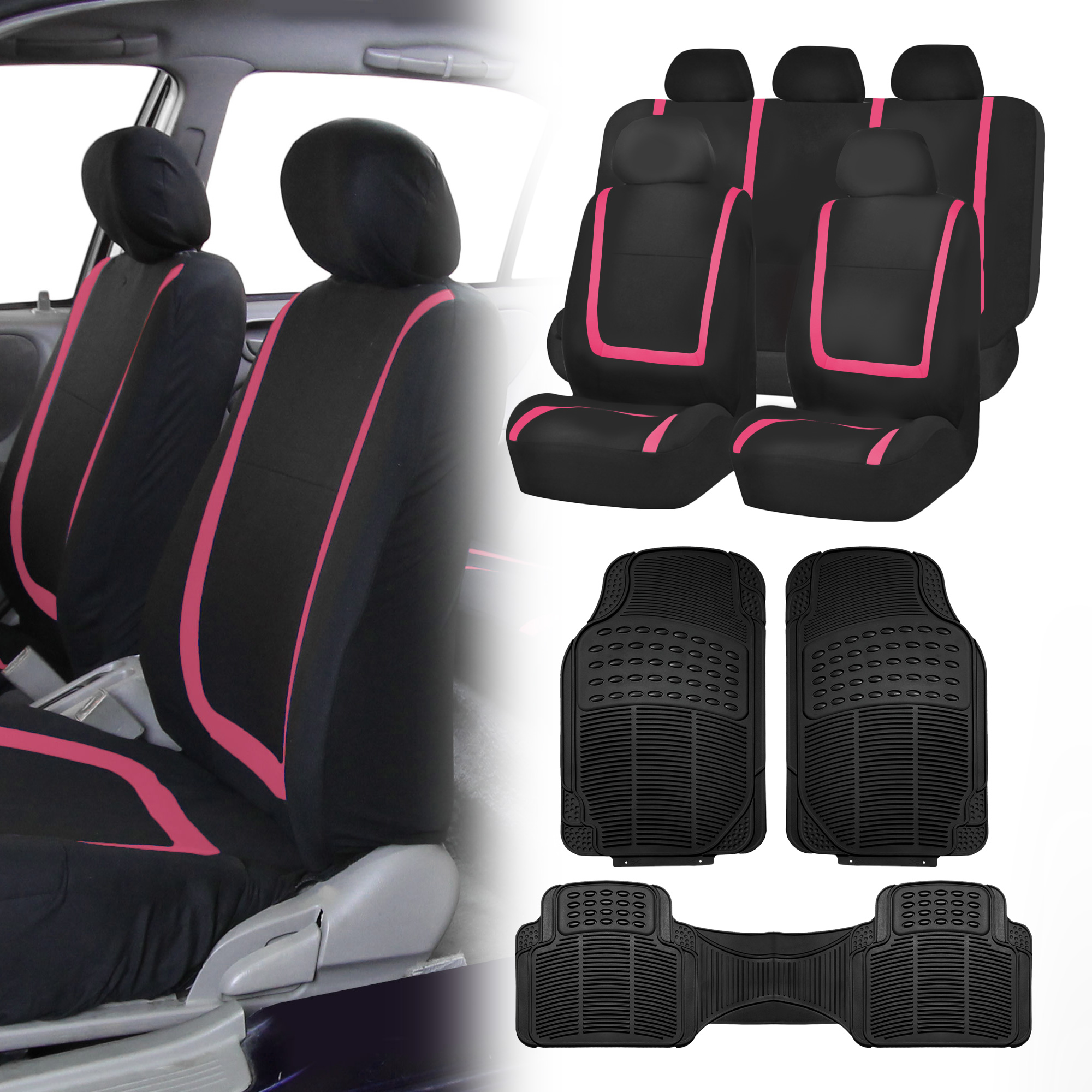 black pink car seat covers with black rubber floor mats for auto car suv ebay. Black Bedroom Furniture Sets. Home Design Ideas