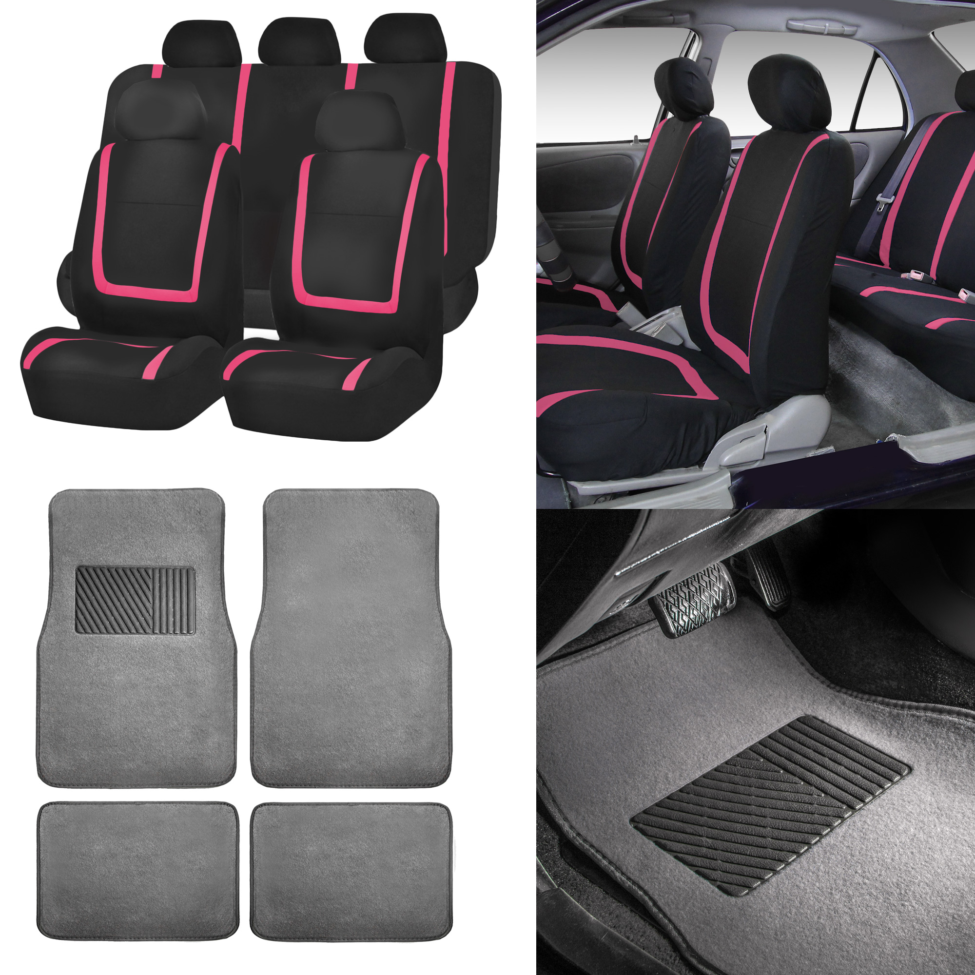 Black & Pink Car Seat Covers With Gray Carpet Floor Mats