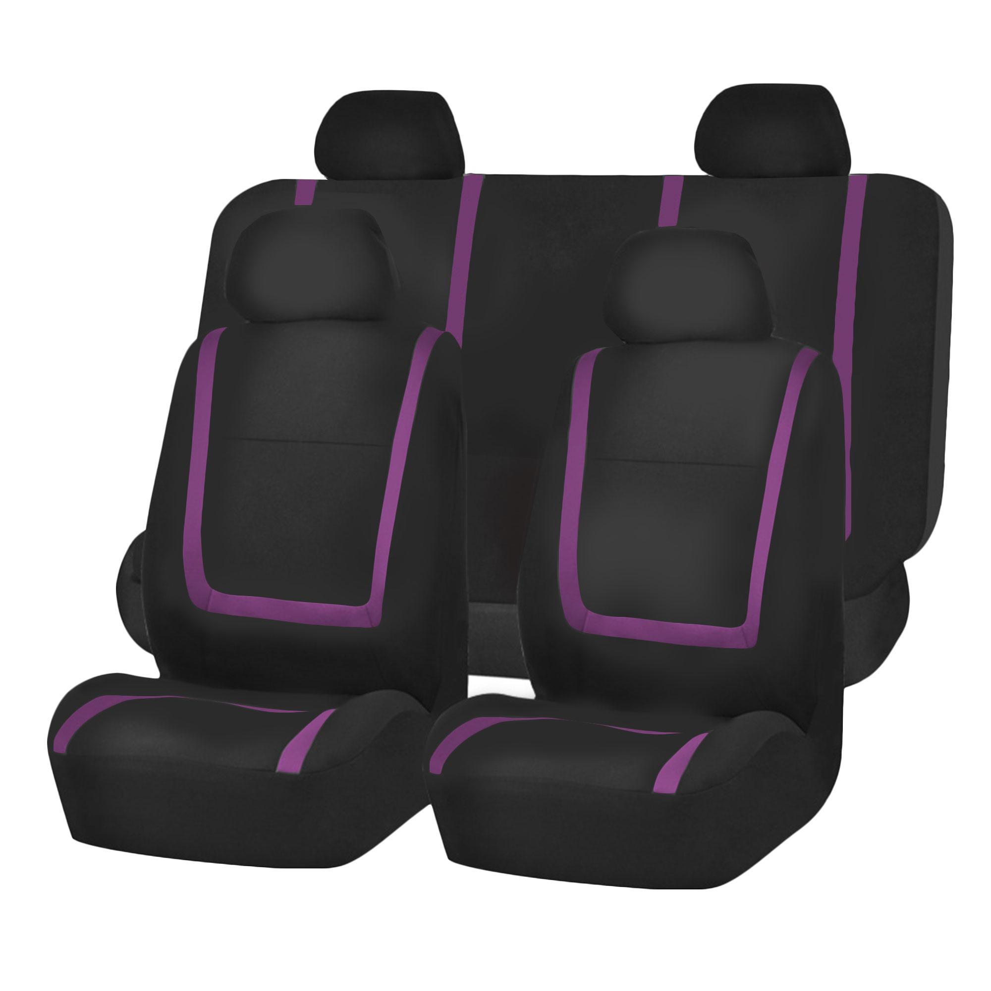Car Seat Covers Purple Black Full Set For Auto W/Black