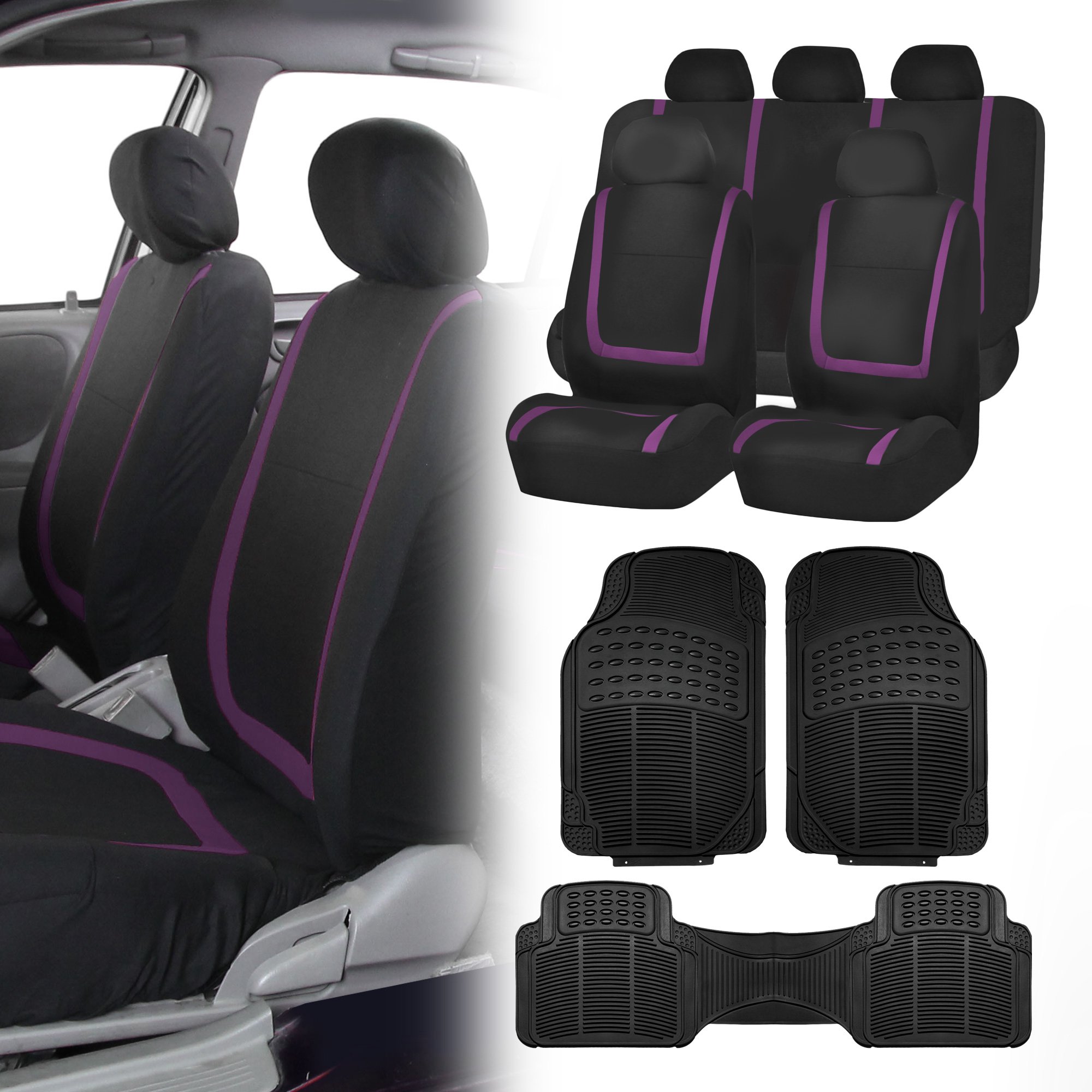 Black Purple Car Seat Covers With Black Rubber Floor Mats
