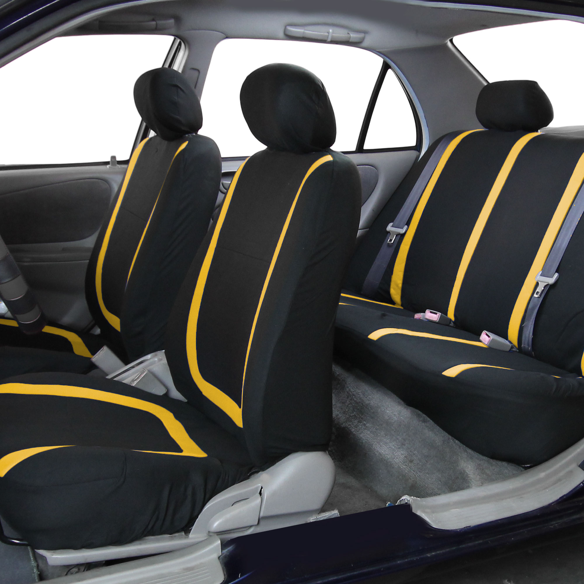 Black Yellow Car Seat Covers With Gray Rubber Floor Mats