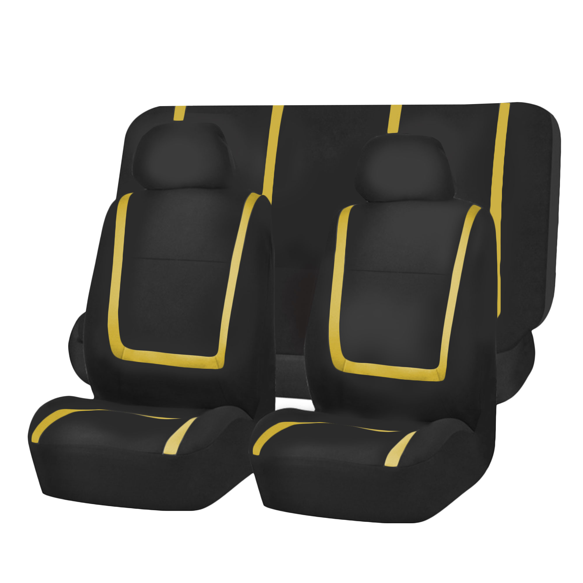 Black Amp Yellow Seat Covers For Car SUV Auto With Gray