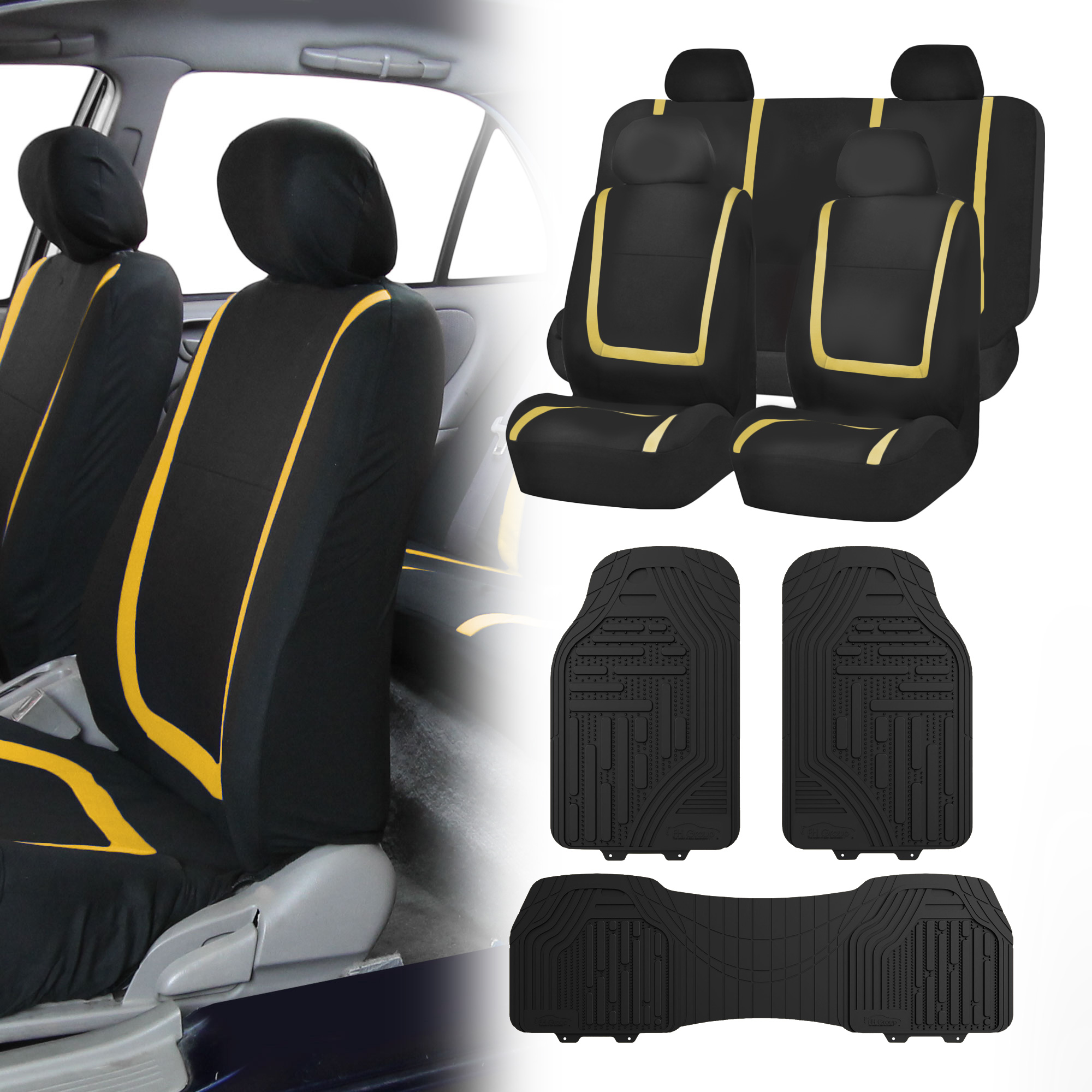 black yellow car seat covers with black premium floor mats for auto car suv ebay. Black Bedroom Furniture Sets. Home Design Ideas