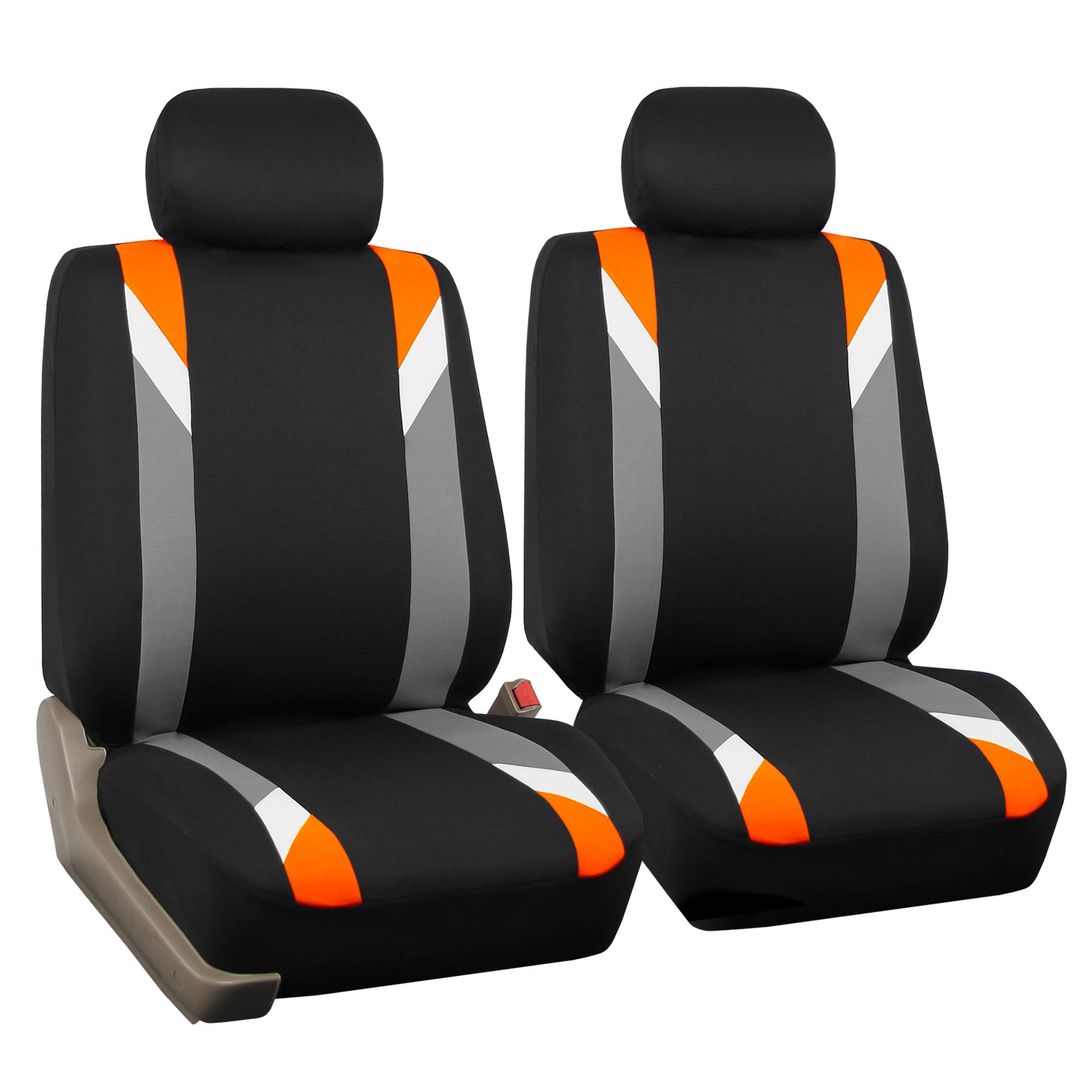 car seat cover set for auto sporty orange w 5 headrests ebay. Black Bedroom Furniture Sets. Home Design Ideas