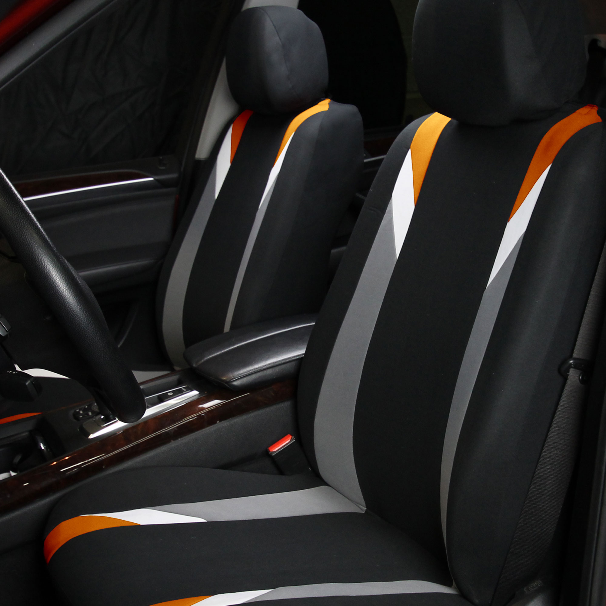 Car Seat Cover Set For Auto Sporty Orange W 3PC Carpet