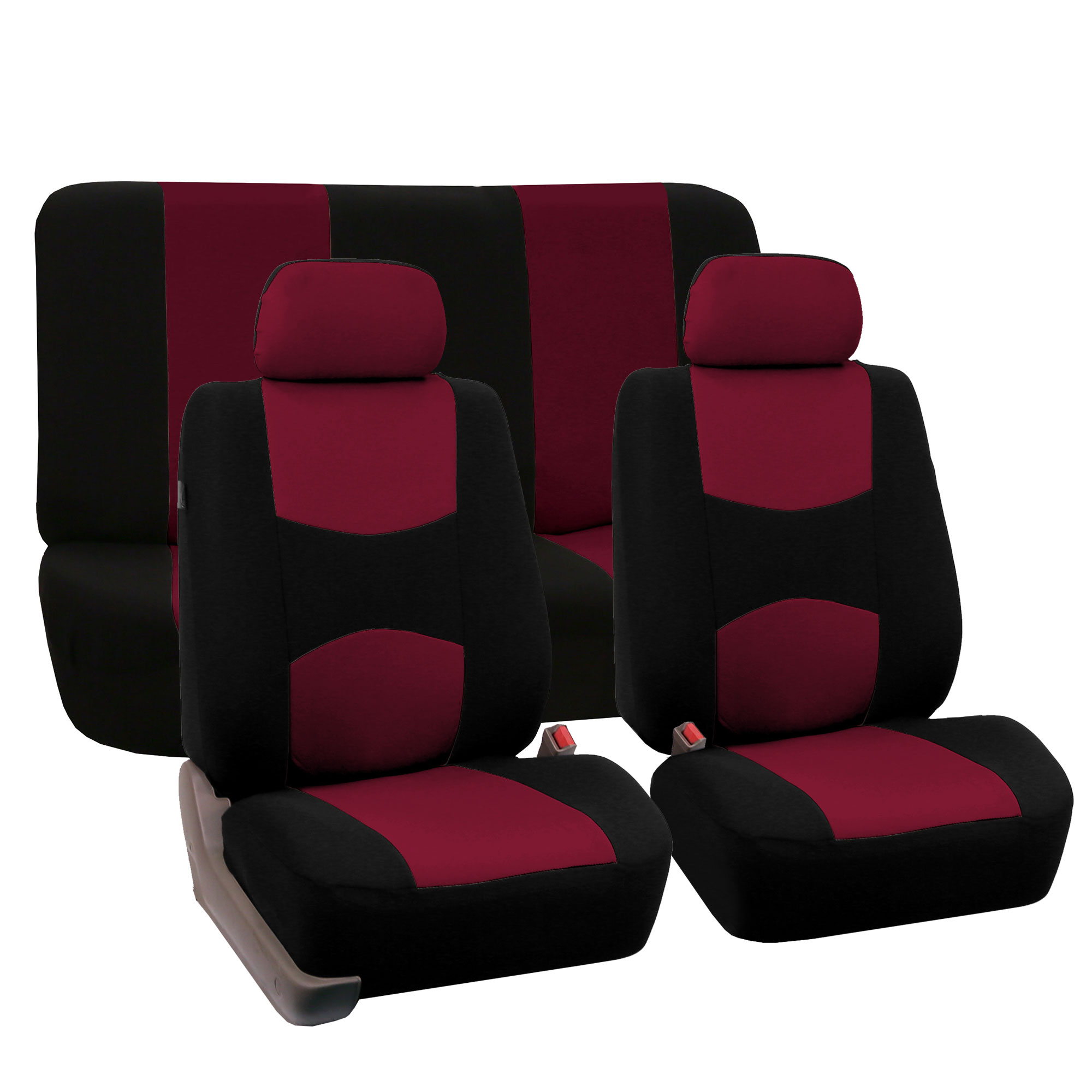 Complete Car Seat Covers Red Black Sports Luxury Car SUV Sedan