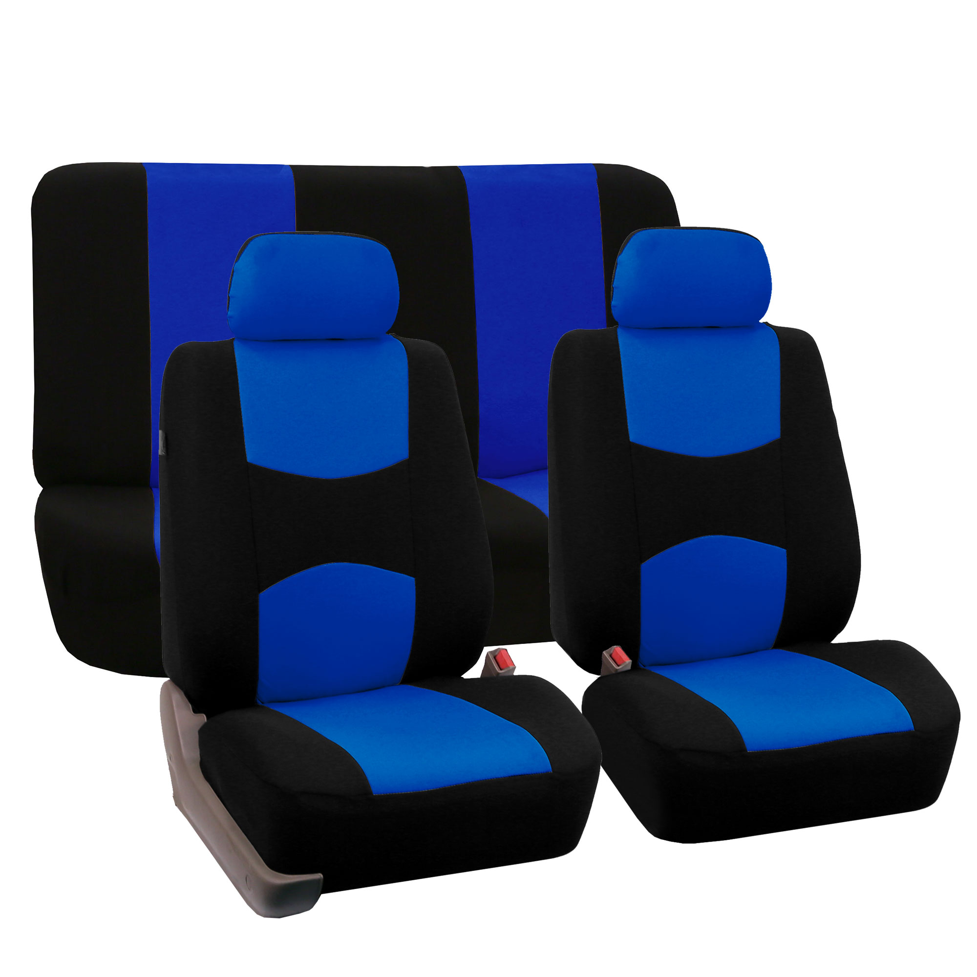Luxury Sport Car Seat Cover Set Front Rear Blue Black For