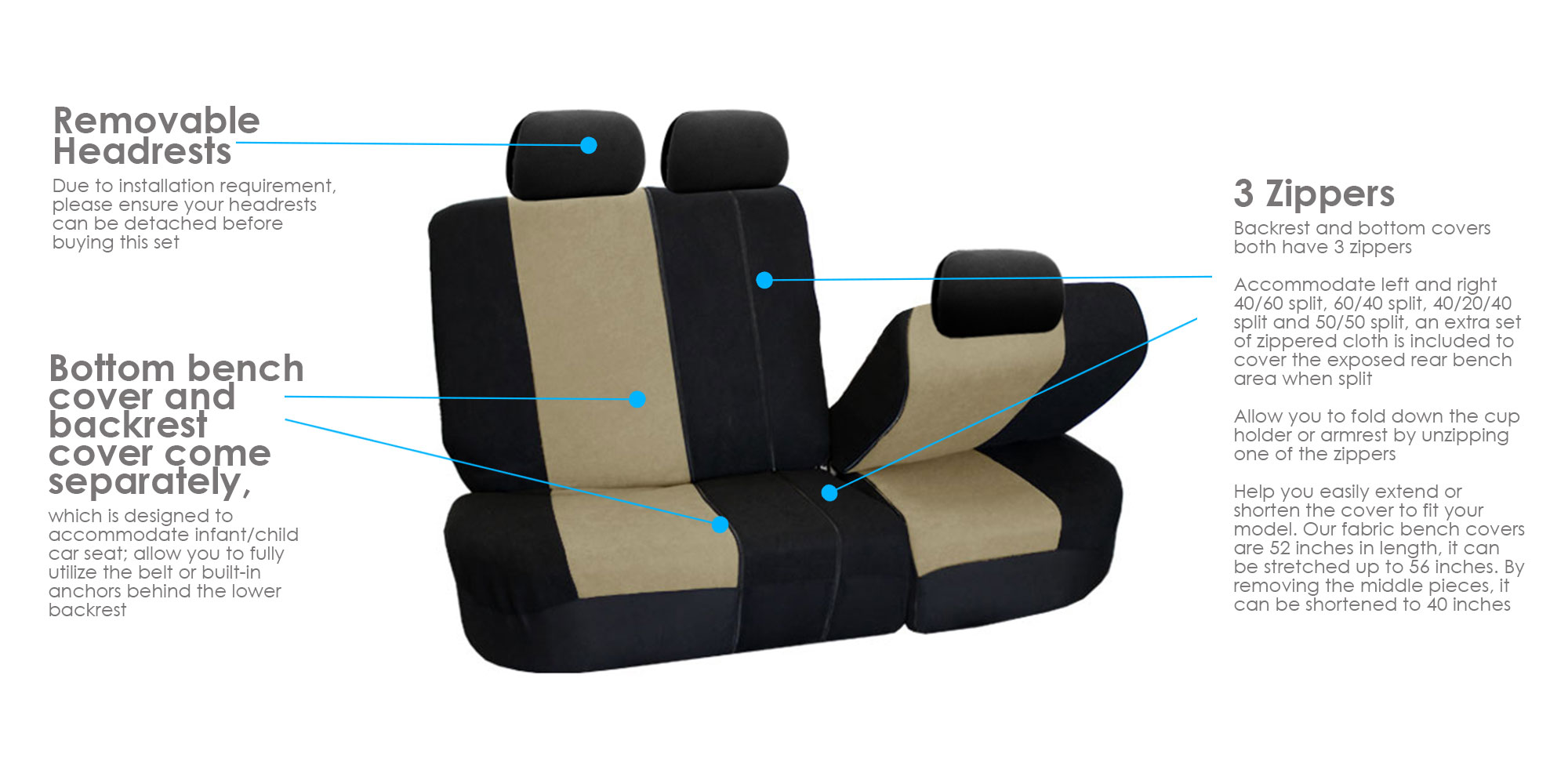 Car Seat Covers High Quality Sets Gray For Car SUV WSeat