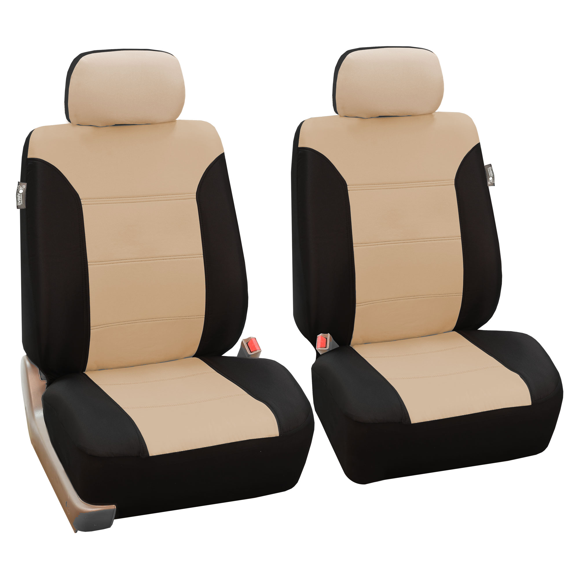 Beige Black Car Seat Covers Set For Auto W Floor Mat