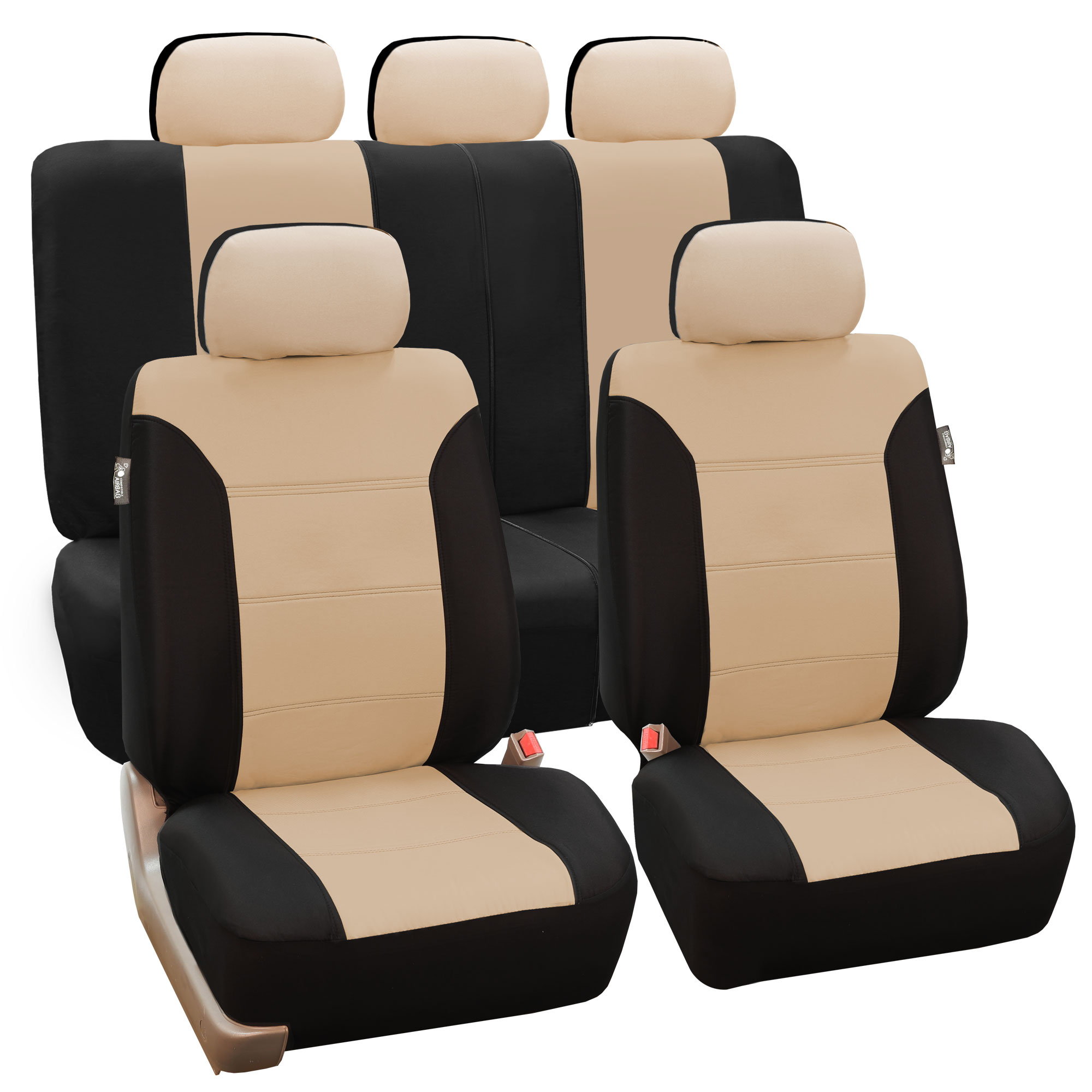 beige black car seat covers set for auto w floor mat. Black Bedroom Furniture Sets. Home Design Ideas