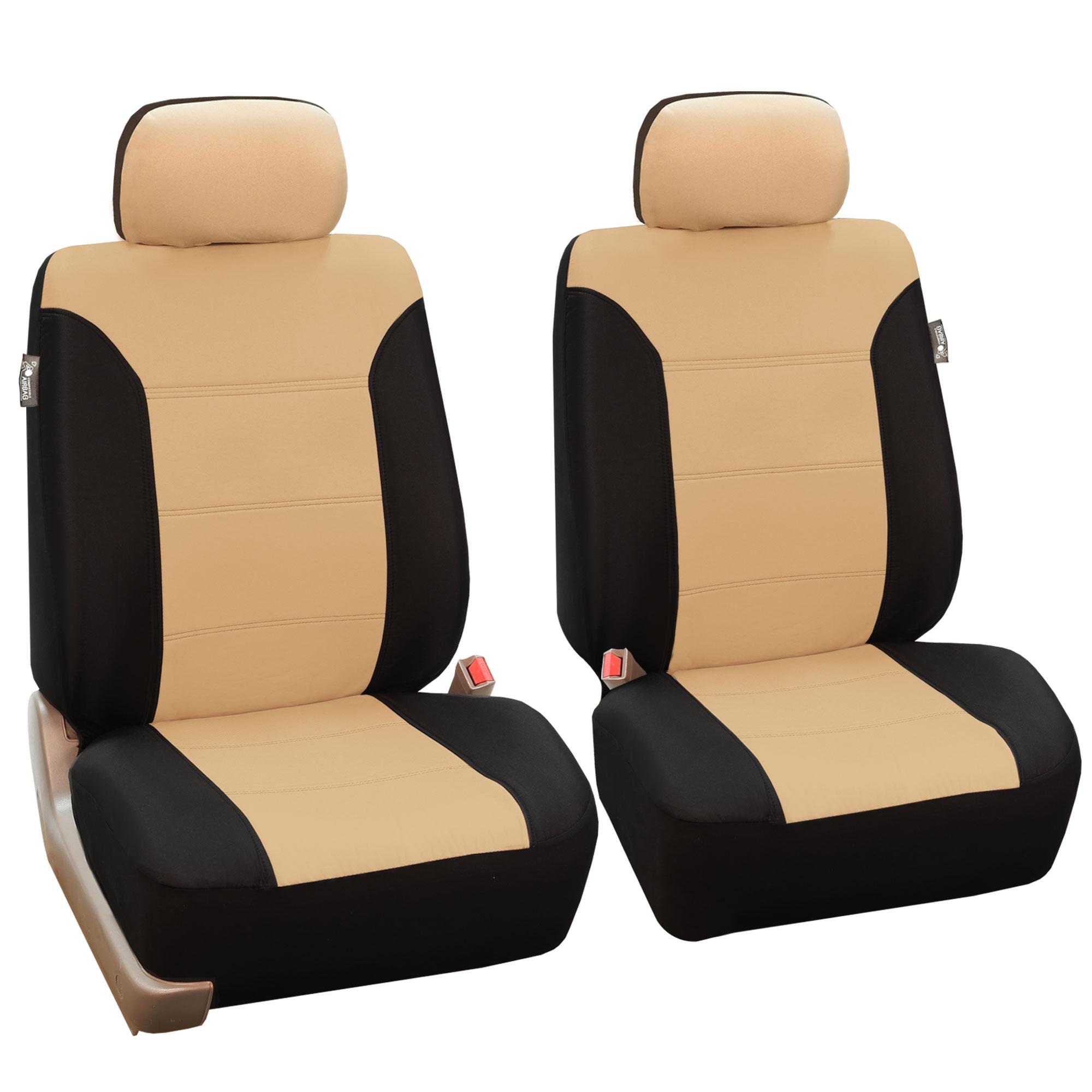 Classic Khaki Bucket Car Seat Covers Pair