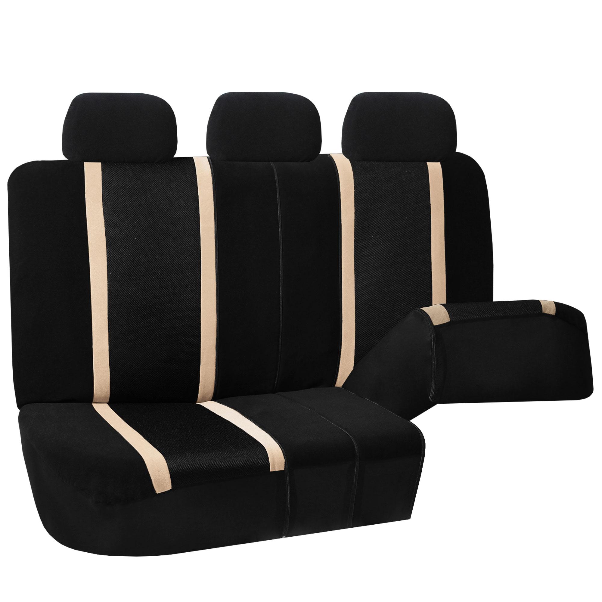 beige black car seat covers set for auto w floor mat ebay. Black Bedroom Furniture Sets. Home Design Ideas